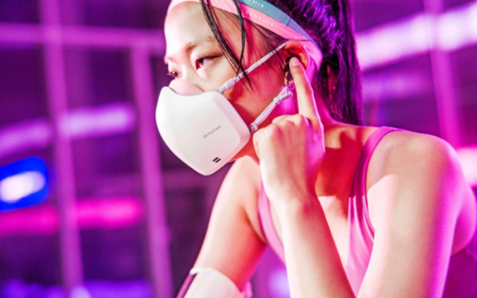 Avec son système de filtration active, le masque de LG a une autonomie de huit heures. © LG