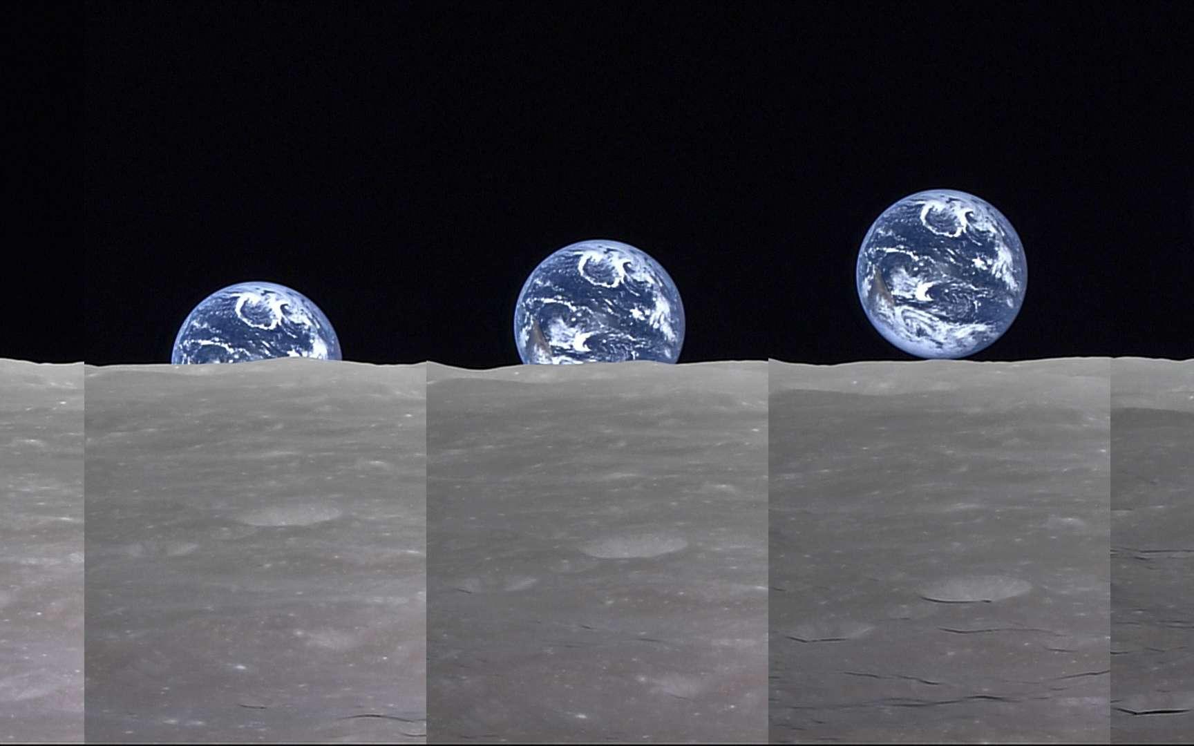 « Lever de Terre » vu depuis par la Lune par la sonde japonaise Selene, en avril 2008. © Jaxa, NHK