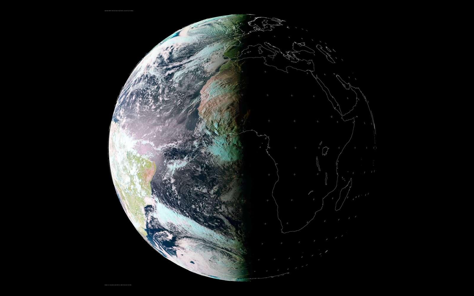 La Terre, un jour d'équinoxe. La durée du jour et de la nuit est quasiment la même pour tout le monde les jours des équinoxes d'automne et de printemps. © Meteosat Image ctsy. Univ. of Dundee in Scotland.