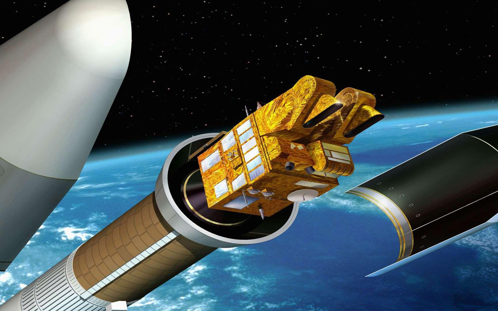 Le satellite Spot 5 se sépare du lanceur Ariane 4. Illustration du satellite Spot 5 au moment de la séparation de la coiffe du lanceur Ariane 4. Le satellite d'observation de la Terre Spot 5 a été placé en orbite dans la nuit du 3 au 4 mai 2002 par le lanceur Ariane 42P. © Cnes/ill./DUCROS David, 2002