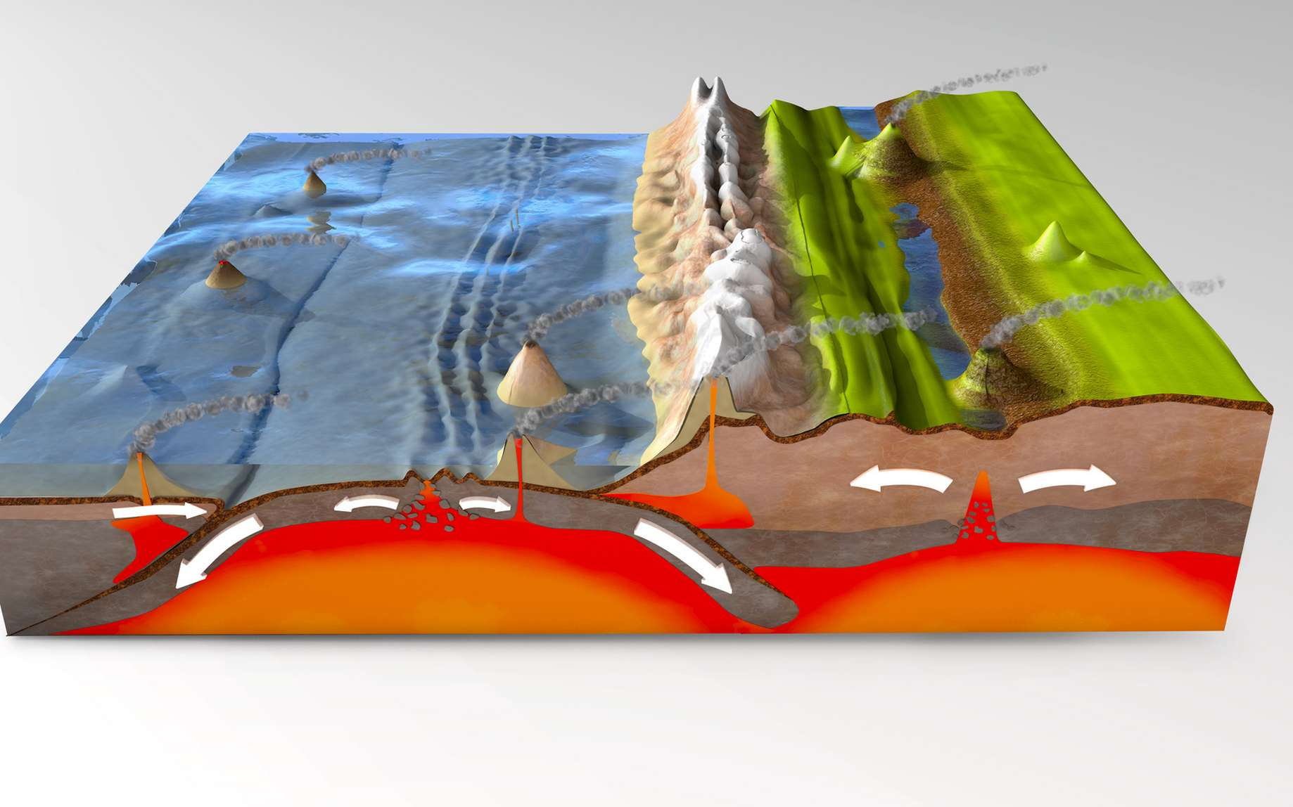 Au niveau d'une zone de subduction, une plaque océanique plonge sous une autre plaque, ici continentale. © Christoph Burgstedt, Fotolia