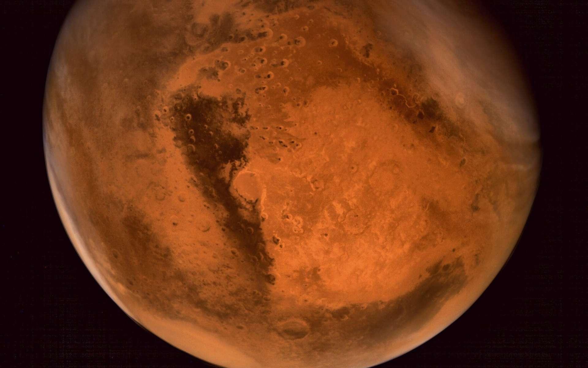 Une vue de la planète Mars obtenue grâce à la sonde indienne Mangalyaan. © Indian Space Research Organisation