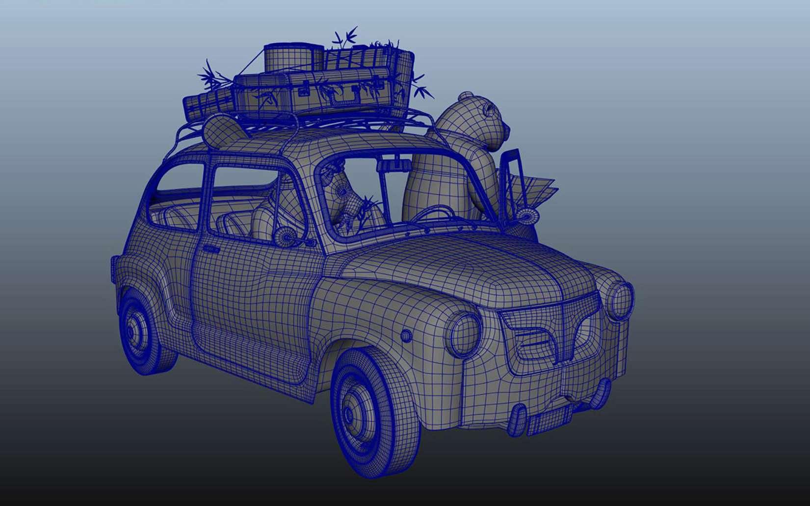 Le making-of de la P4ND4. Au départ, une grille, un maillage en 3D. Tout commence avec une matrice de points, des pixels en 3D qu'on appelle des voxels. La 3D permet de voir en trois dimensions, en hauteur, en largeur et en profondeur, de représenter la réalité telle que nous le voyons. La peinture, au Moyen Âge, ne connaît pas la perspective fuyante ni la représentation du volume ; la réalité est vue sur le même plan, à plat.Making of de la transformation d'une voiture. © Frédéric Müller, tous droits réservés