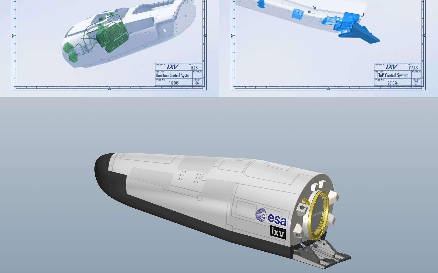 Les deux éléments du sous-système GNC (Guidage, Navigation and Control) qui assure le contrôle du vol à l'aide du RCS (en haut à gauche, Reaction Control System) et des volets de gouverne (en haut à droite, Flap Control System). © Esa/Thales Alenia Space
