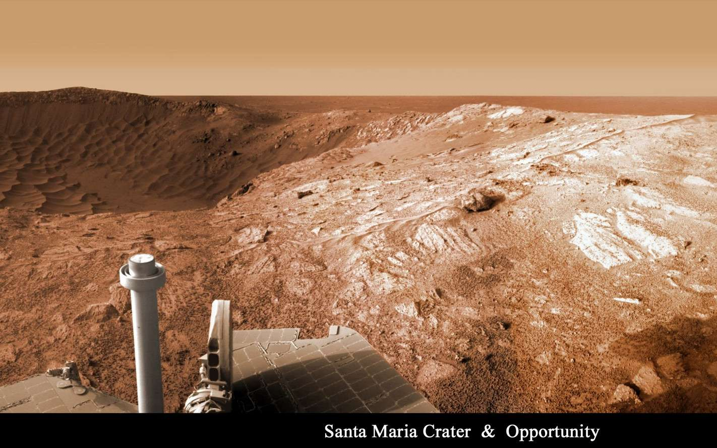 Opportunity face au cratère Santa Maria. © Mars Exploration Rover Mission/Nasa/JPL/Cornell/Marco Di Lorenzo/Kenneth Kremer
