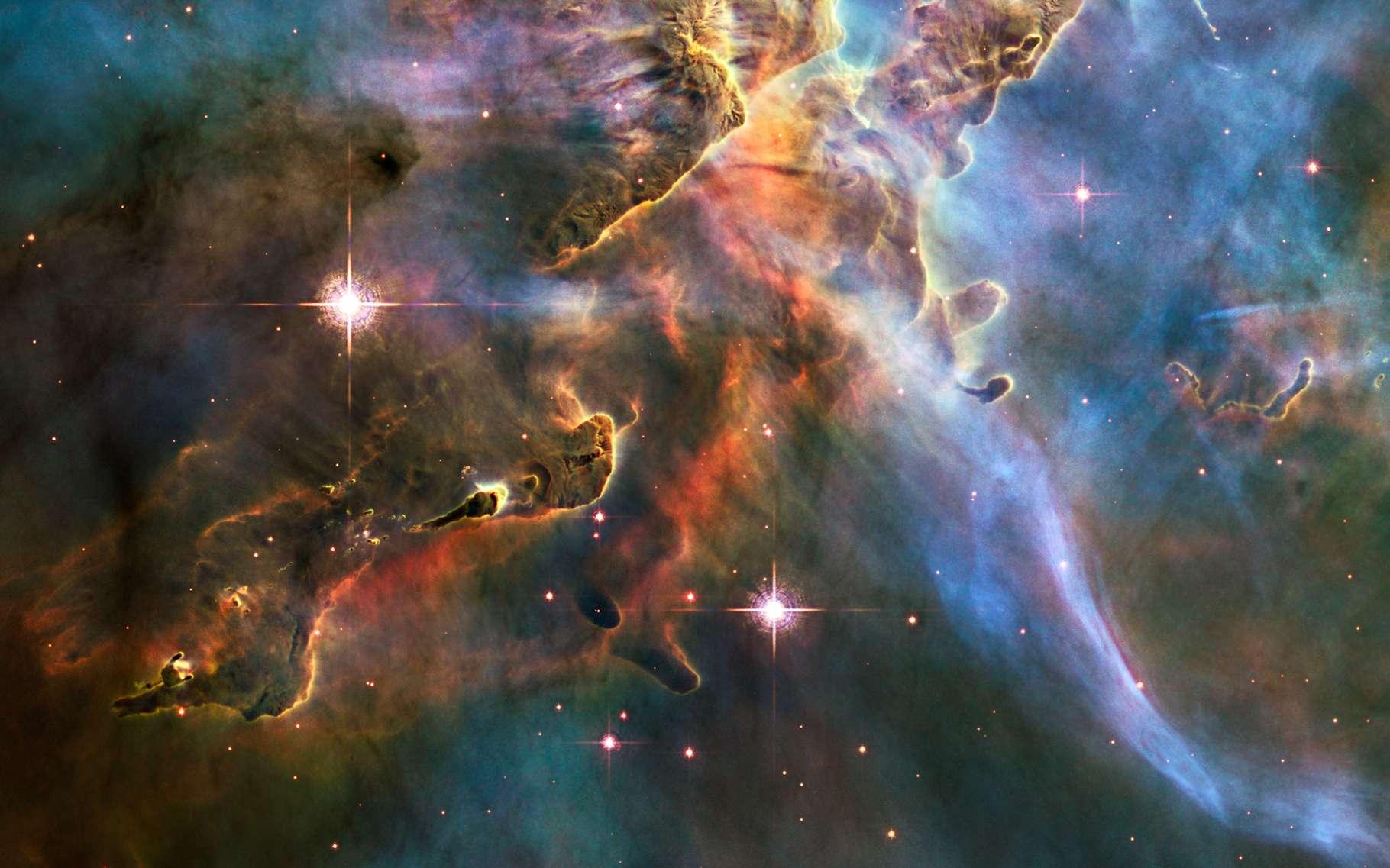 De brillantes étoiles dans la nébuleuse de la Carène. Cette dernière se trouve à une distance estimée entre 6.500 et 10.000 années-lumière, dans la constellation du même nom. © Hubble Space Telescope