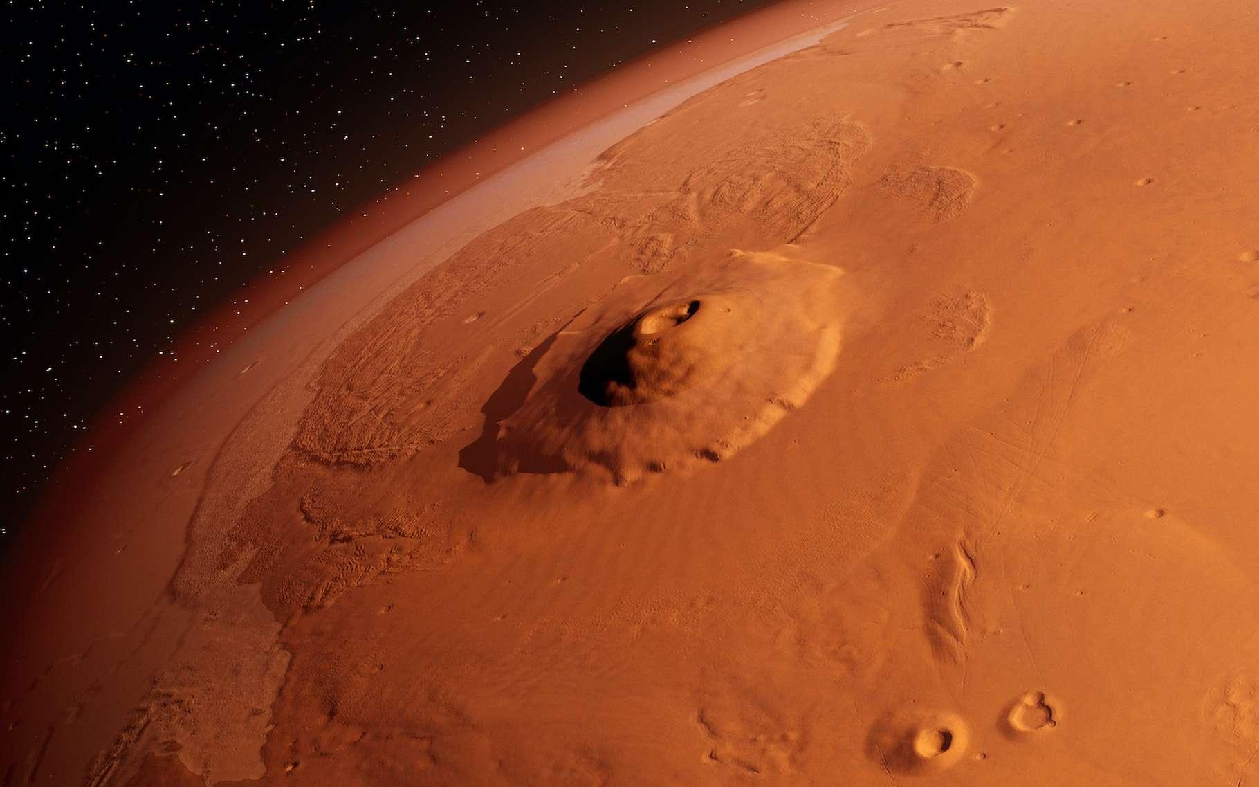 Olympus Mons, ici présenté, est le plus haut volcan du Système solaire. Il culmine à plus de 21.000 mètres au-dessus de la surface de Mars. Ses coulées de lave les plus récentes dateraient de 2 à 3 millions d'années. Mais des chercheurs de l'université de l'Arizona (États-Unis) viennent d'identifier, dans la région d'Elysium Planitia, les traces d'un volcanisme plus récent encore. © SciePro, Adobe Stock