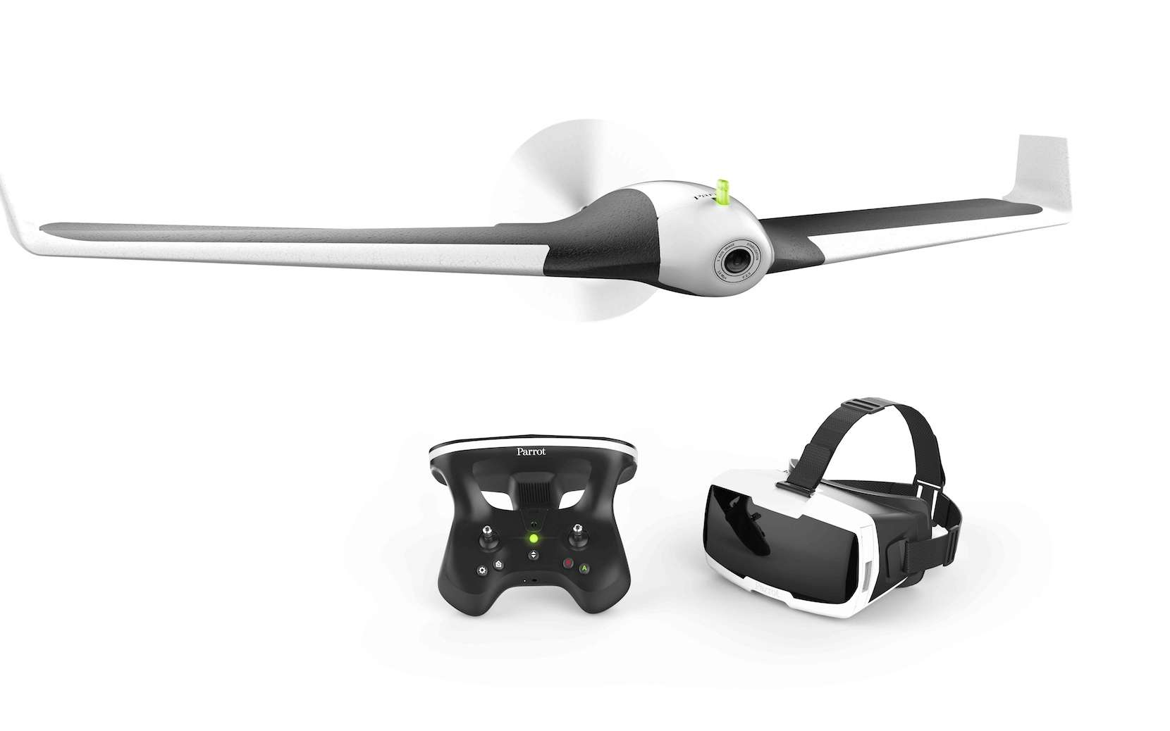 Parrot Disco et ses accessoires (télécommande et casque de réalité virtuelle). Les précommandes pour cet objet présenté au CES de Las Vegas en janvier 2016 sont ouvertes. © Parrot