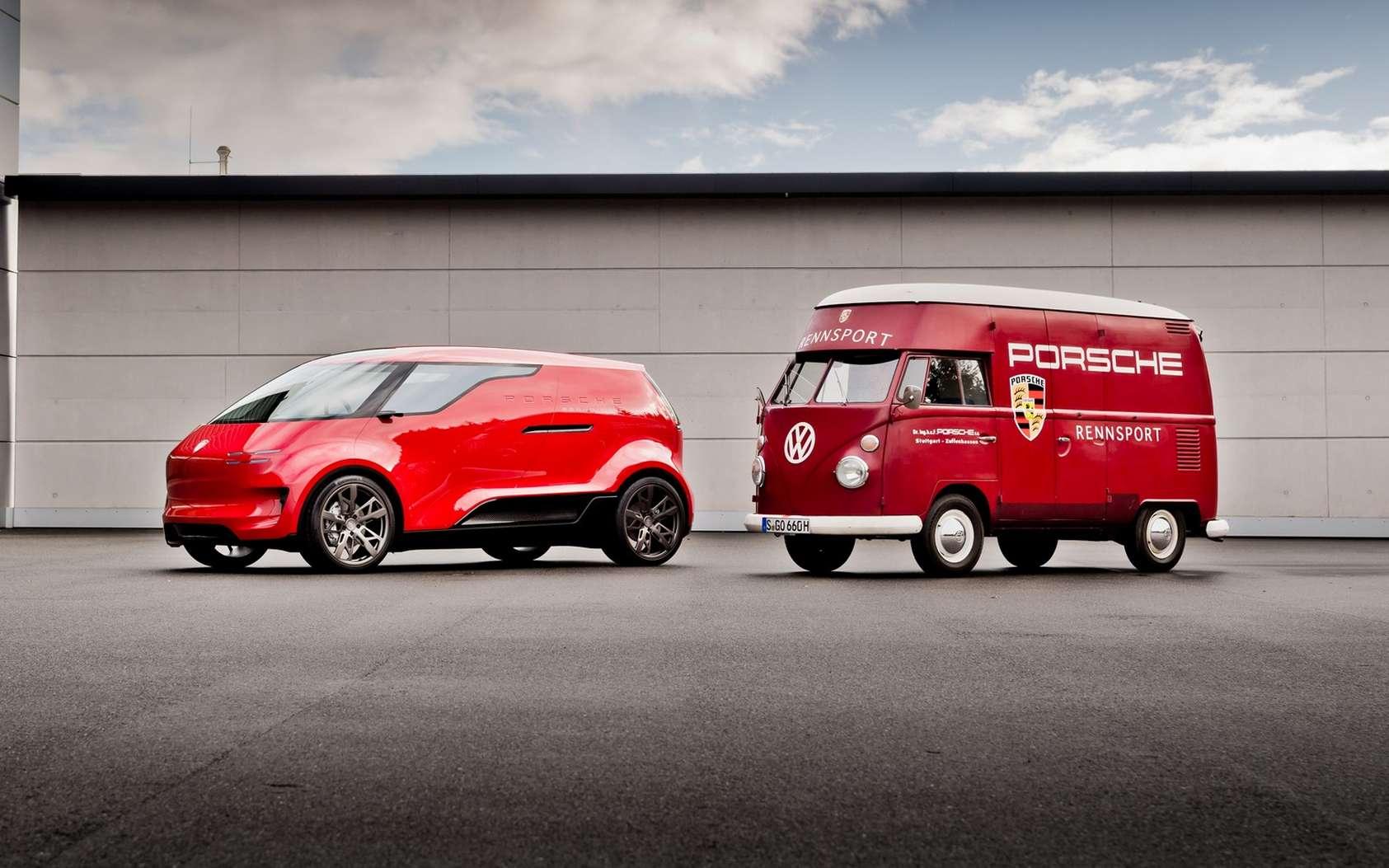 Le Porsche Vision Renndienst est un lointain hommage au Combi Volkswagen. © Porsche