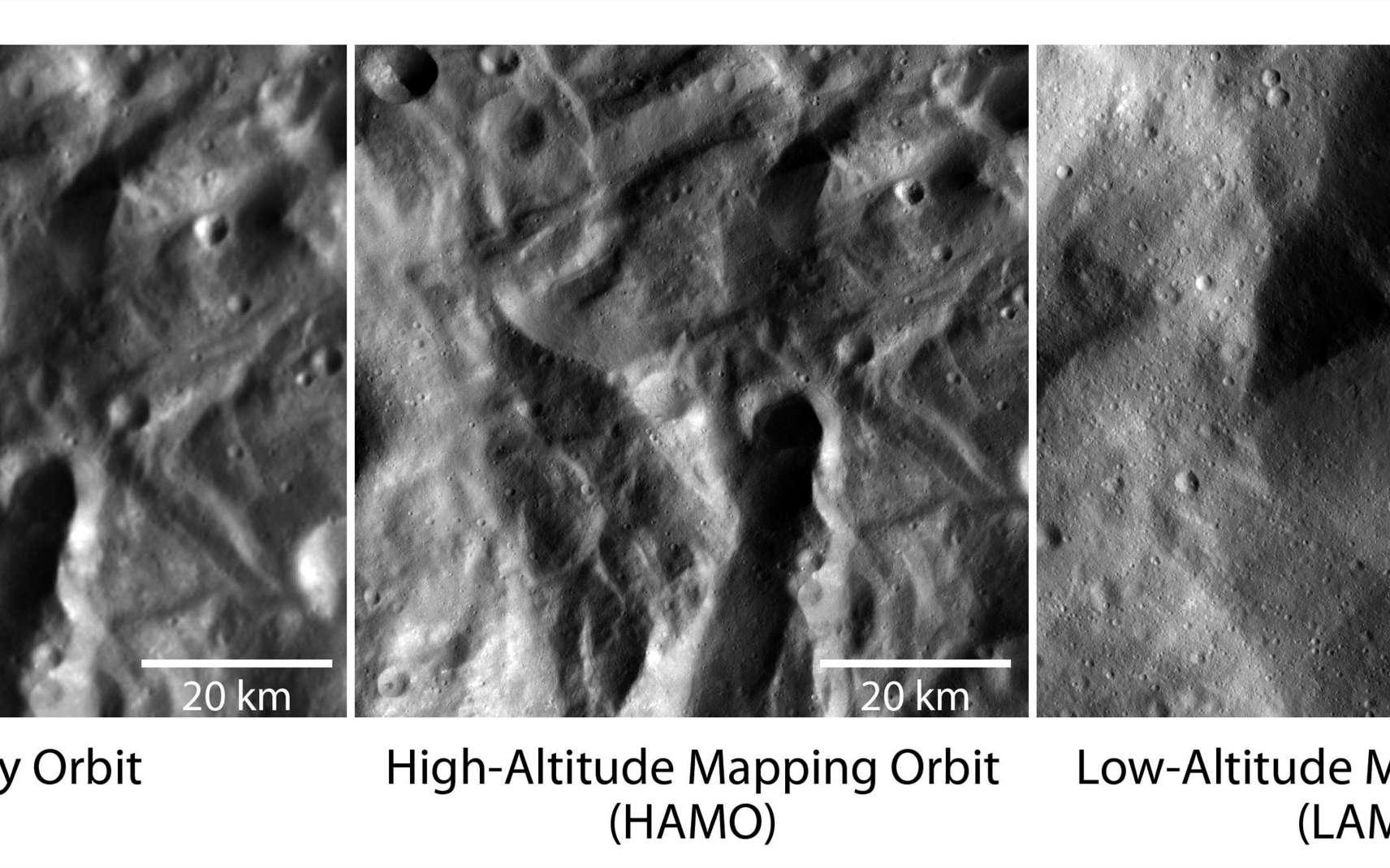 Cette série de trois images montre la même région de Vesta prise à différentes altitudes. Au plus près (image de droite), la résolution de l'image est de 23 mètres par pixel et couvre une superficie de 19 km par 19 km. © Nasa/JPL-Caltech/UCLA/MPS/DLR/IDA