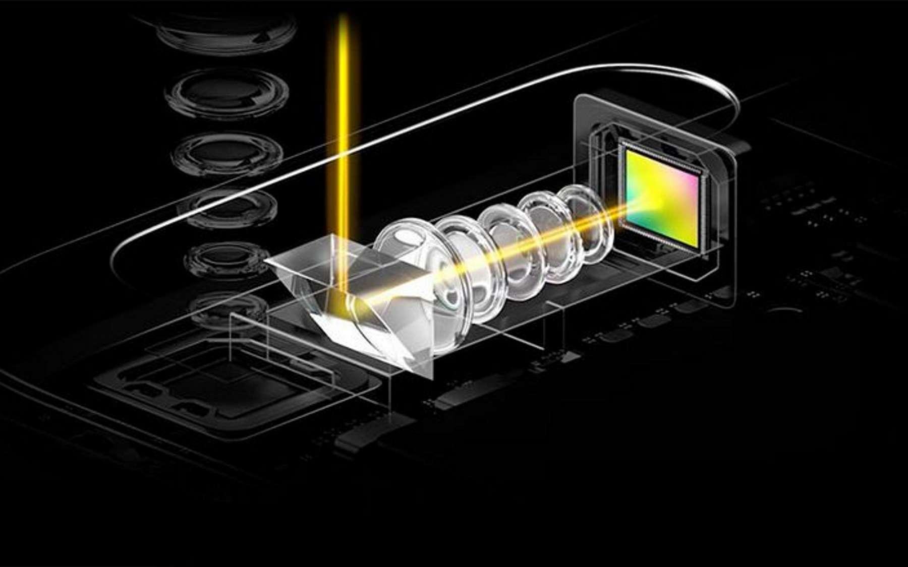 Le Chinois Oppo pourrait dévoiler un mobile doté d'un véritable zoom grossissant 10 fois. Il dispose de deux modules dont l'un repose sur le procédé du périscope afin d'éloigner les lentilles. © Oppo