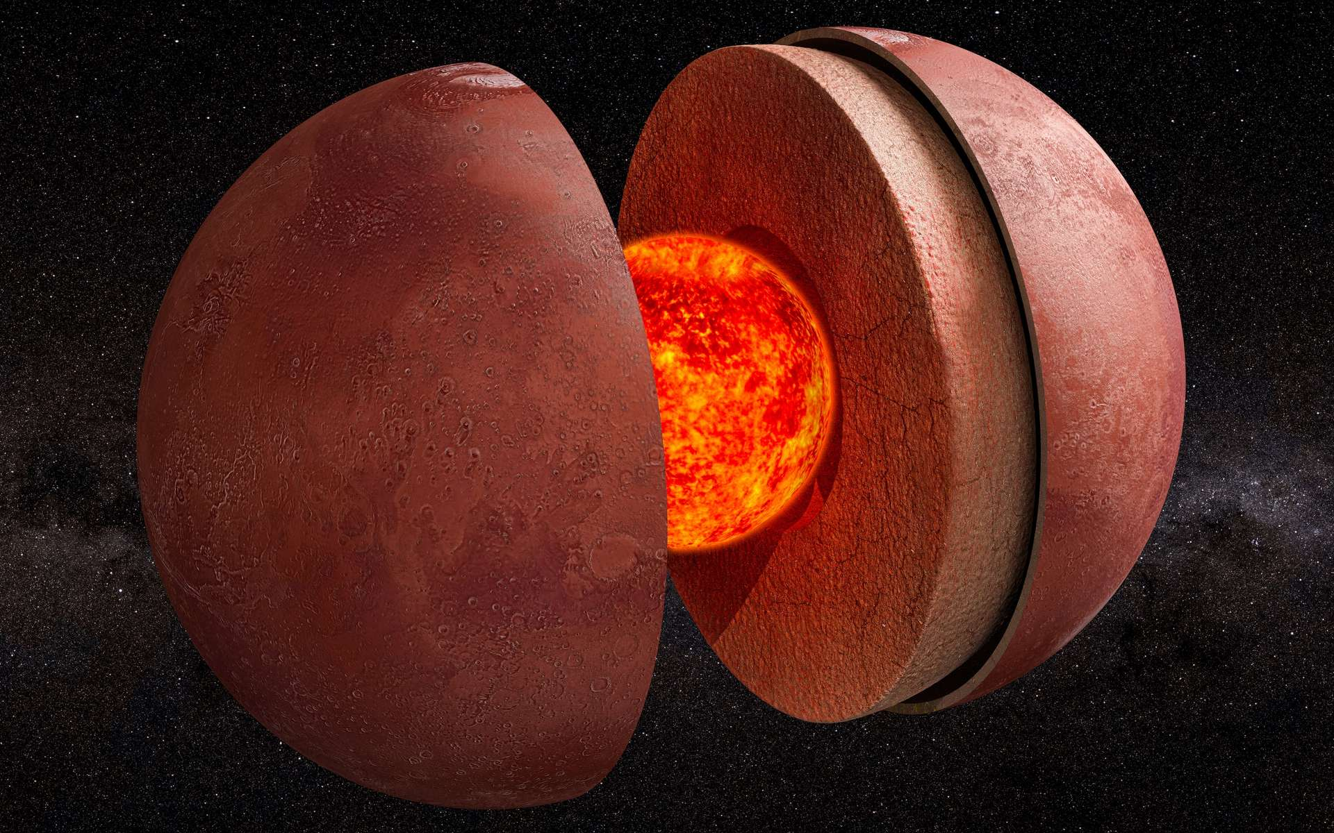 Vue éclatée de la structure interne de Mars. © alexlmx, Adobe Stock