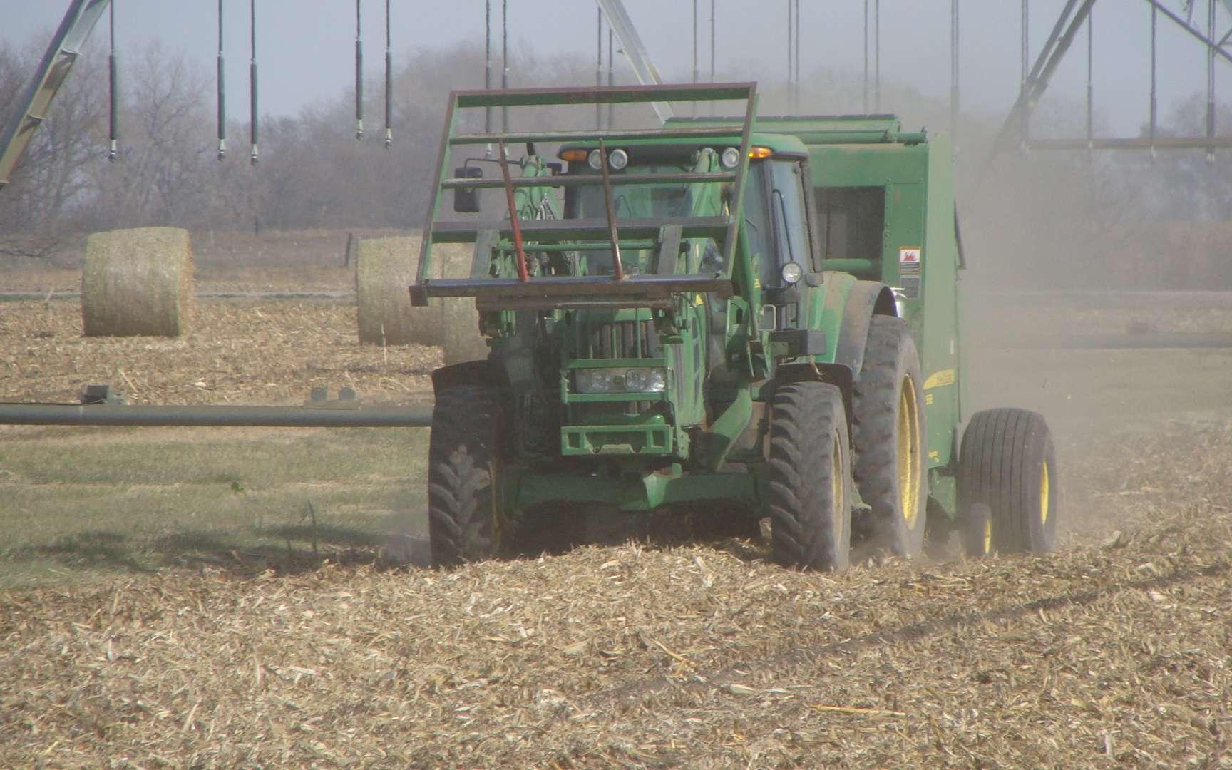 Les États du Minnesota, de l'Iowa et du Wisconsin accusent la perte nette la plus élevée de carbone par élimination des résidus de maïs, du fait de températures fraîches et de sols par nature riches en carbone. L'usage de ces résidus pour produire des biocarburants pourrait être remis en question à cause des taux de CO2 émis par ce biais. © Université du Nebraska à Lincoln