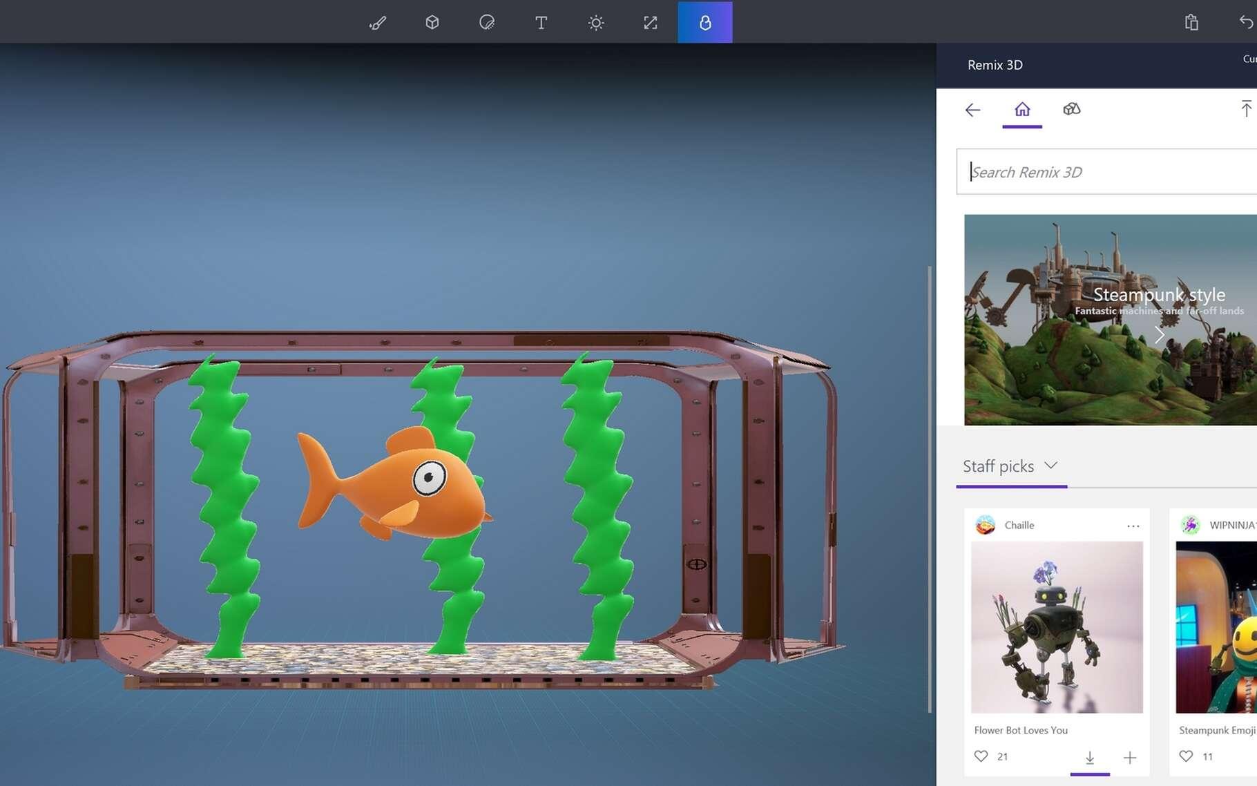 Un aperçu de la nouvelle interface du logiciel de retouche d'images Paint 3D. © Microsoft