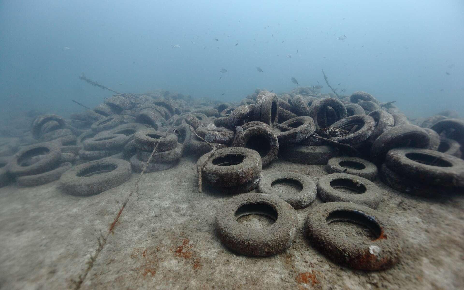 Les récifs en pneus n'ont pas résisté à la houle et aux courants et se sont écroulés puis disséminés. © Jérôme Espla / Poisson-Lune Productions