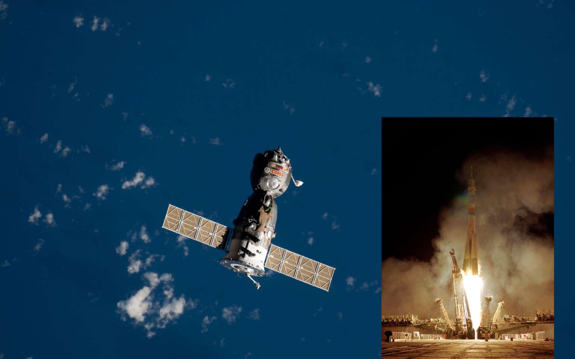 Décollage du lanceur Soyuz modernisé, à destination de la Station spatiale, avec à son bord 3 astronautes. Le véhicule spatial s'est amarré à l'ISS le 10 octobre. © Nasa
