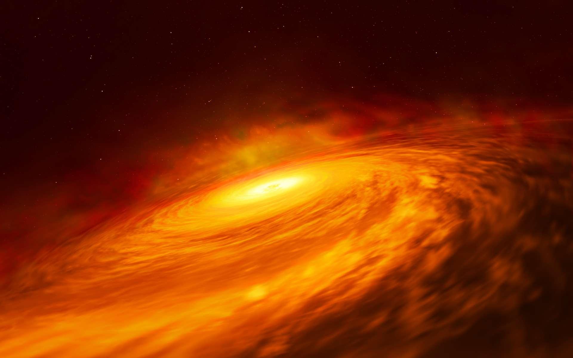 Une vue d'artiste d'un des trous noirs géants au centre d'une galaxie. On voit en l'occurrence son disque d'accrétion chauffé. © M. Kornmesser
