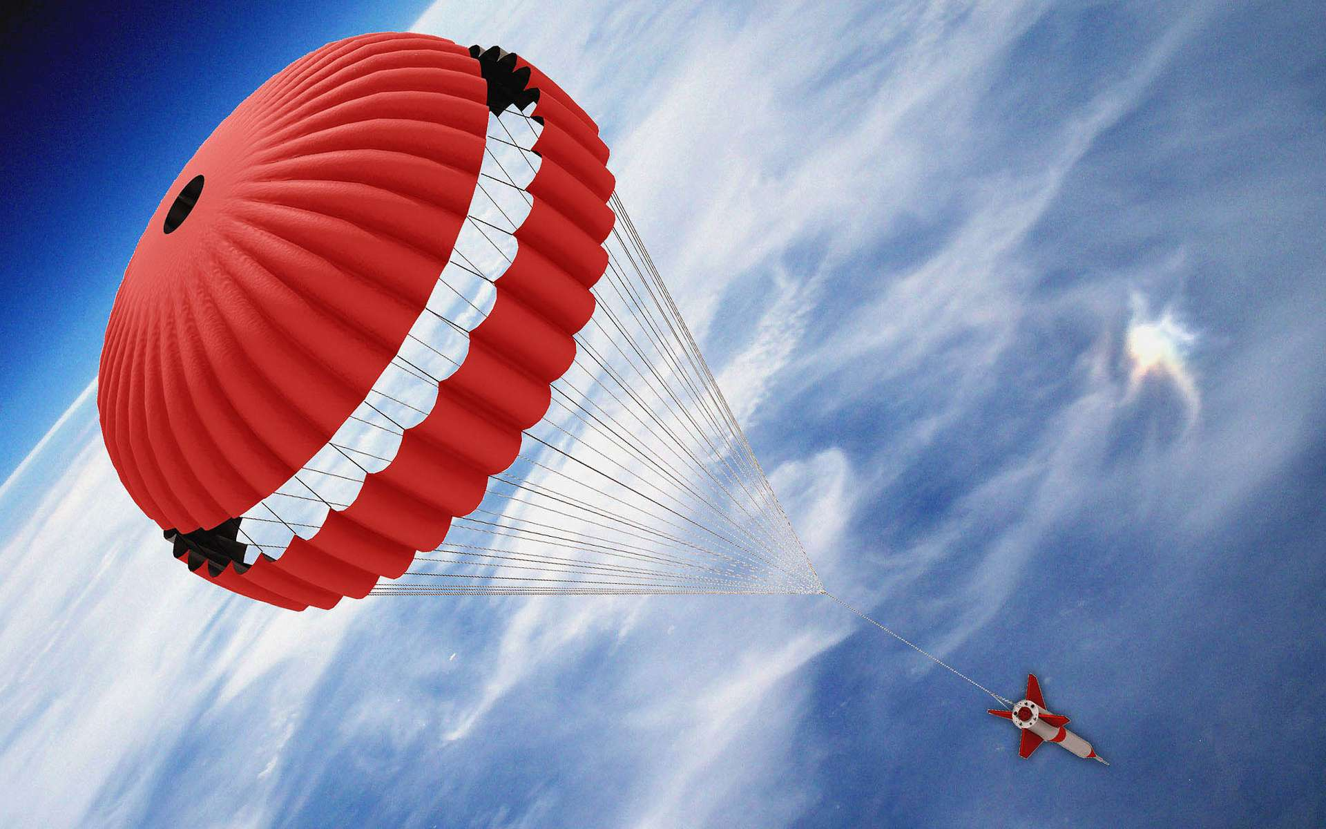 Représentation du déploiement du parachute principal d'ExoMars. © Arca Space
