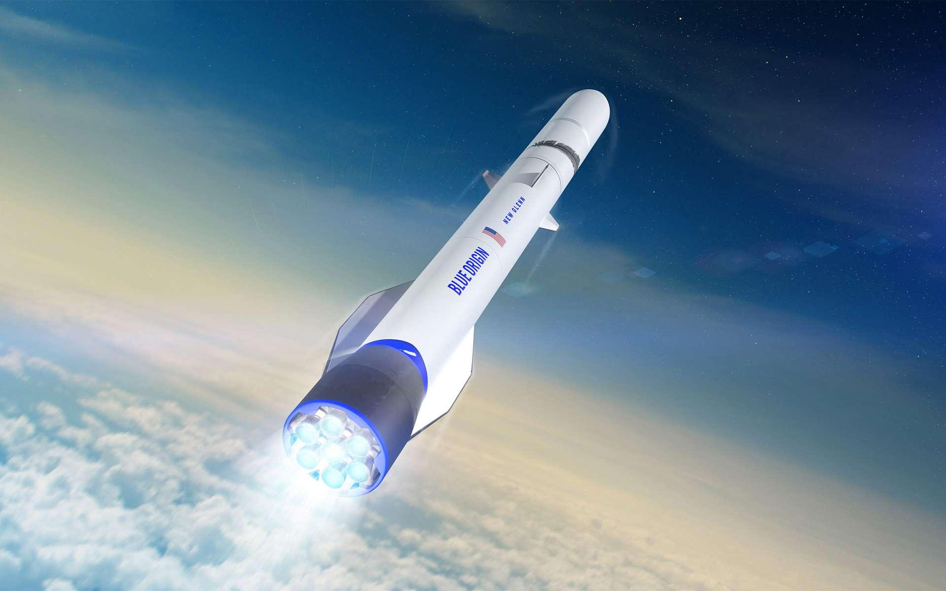 Vue d'artiste du New Glenn, le futur lanceur de Blue Origin, dont le vol inaugural est prévu en 2021. © Blue Origin
