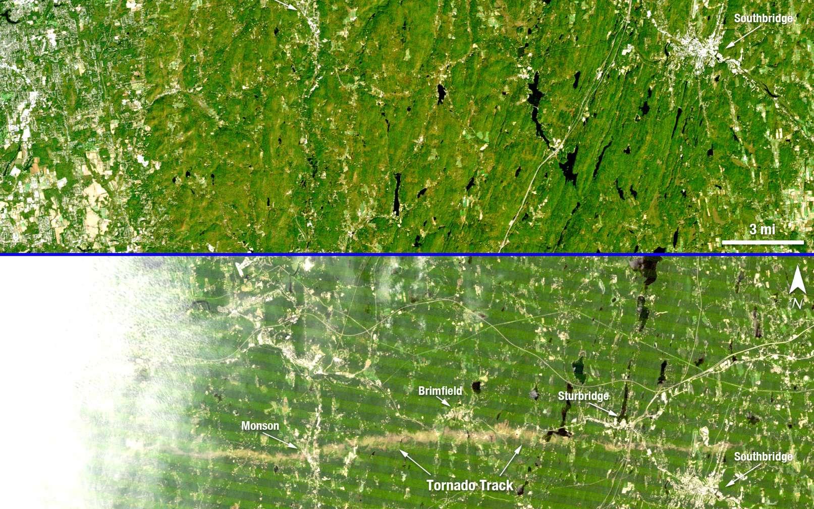 Ces deux images de la même région ont été acquises par le satellite Landsat 5 de la Nasa et du Service d'études géologiques (USGS). Elles permettent de se rendre compte de la trace au sol laissée par la tornade et des dégâts qu'elle a occasionnés. © Nasa/USGS