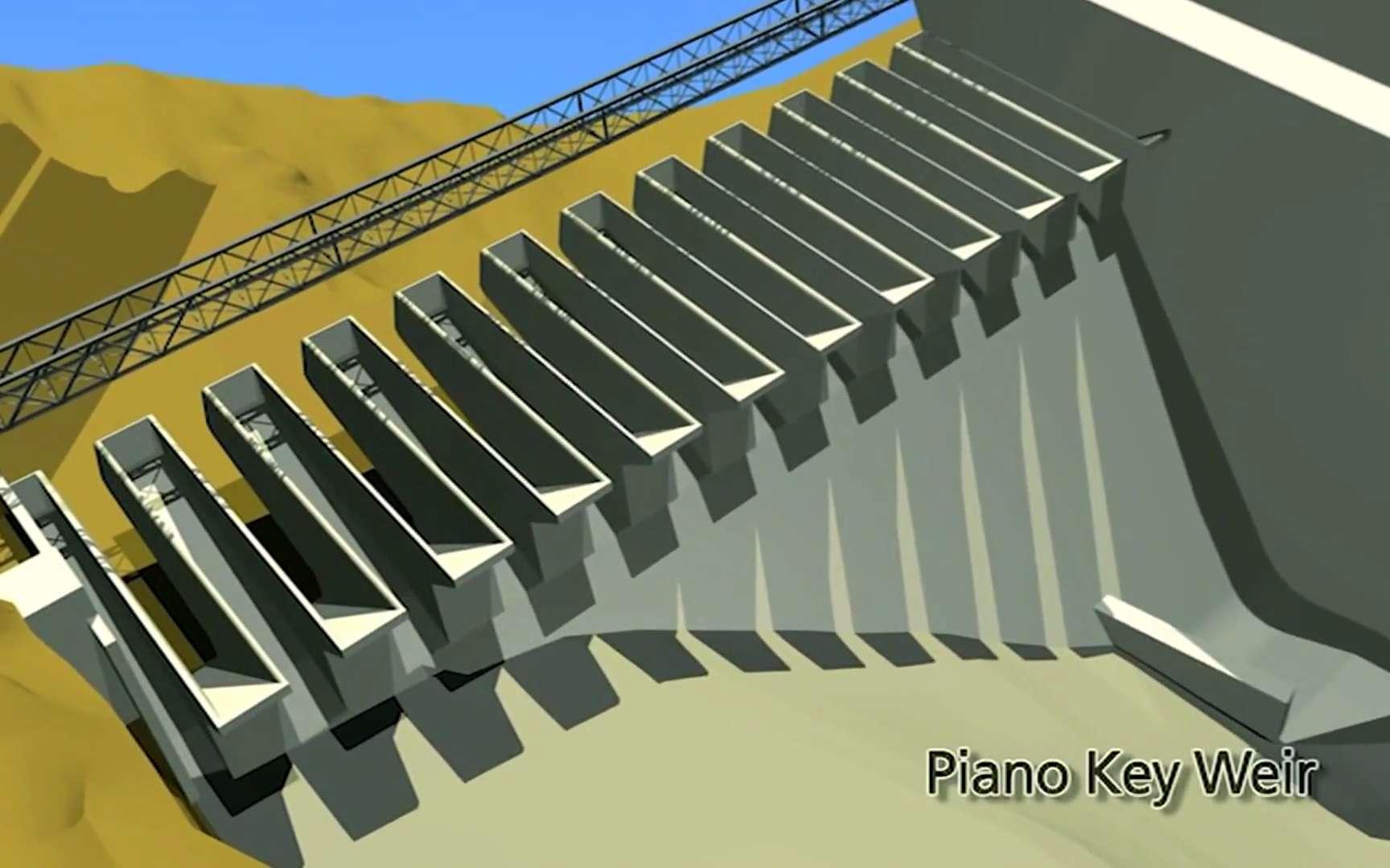 Schéma de l'évacuateur de crue PKW du barrage de Malarce. La retenue est à gauche et l'eau coule donc vers la droite. En temps normal, le niveau amont atteint la construction crénelée, en béton et l'eau du lac baigne les douze bacs d'alimentation. En cas de forte crue, le niveau dépasse les bords et l'eau se déverse entre ces bacs, s'écoulant vers le bas. © EDF