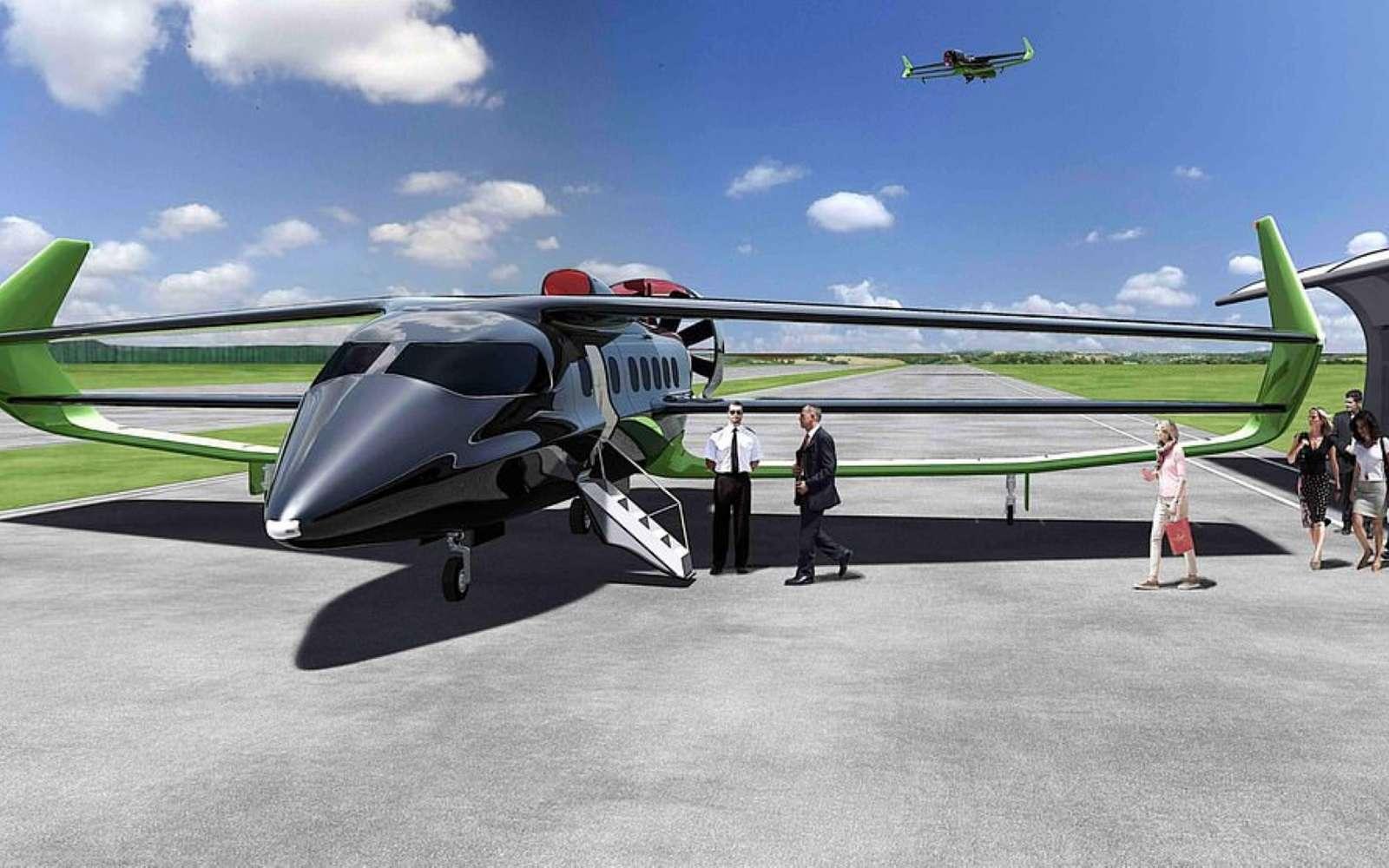 Basé sur une architecture d'aile triplan, le Beha sera un avion hybride capable d'emporter 18 passagers ou 5 tonnes de fret. © Faradair
