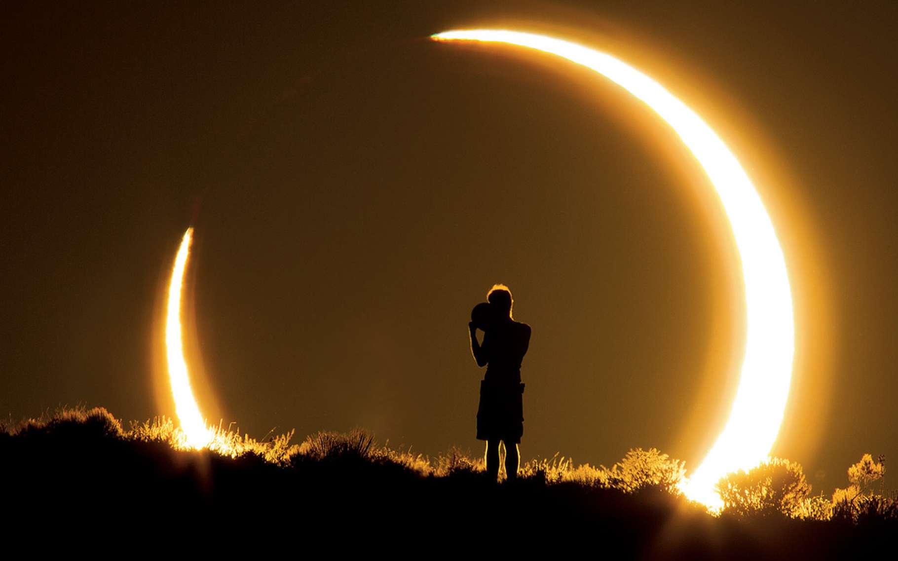 Une éclipse annulaire de Soleil transforme notre étoile en un bel anneau lumineux. © Colleen Pinski, NASA Astromony picture of the day