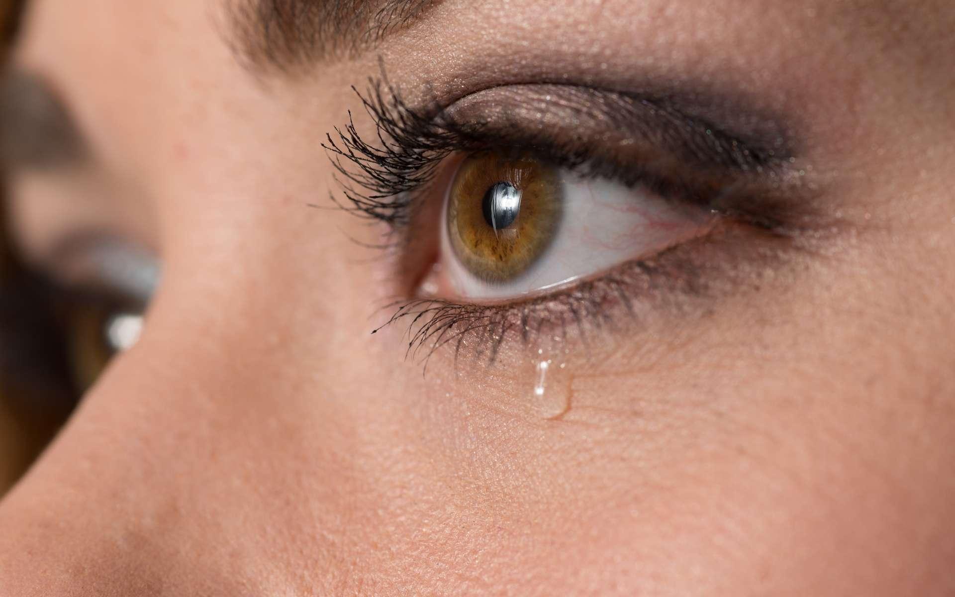 Les larmes sont essentiellement constituées d'eau, mais aussi de sels minéraux, de sel, de protéines, d'antiseptiques, etc. © Chris Collins, Shutterstock