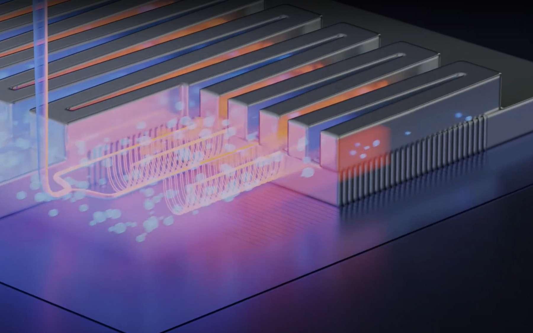 Un système de microcanaux est intégré avec la puce, et fait office de système de refroidissement. © POWERLab