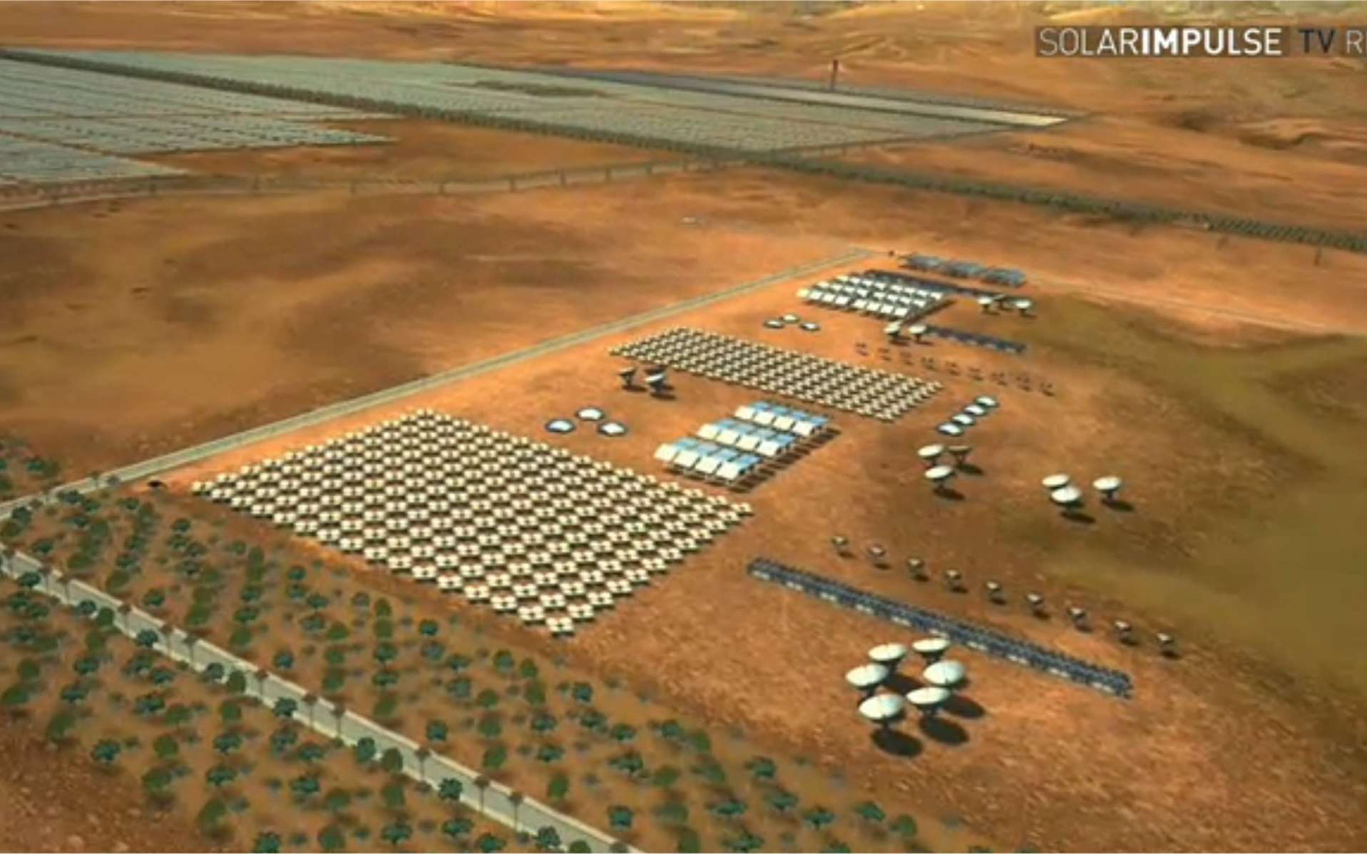 La centrale thermosolaire du projet Masen (ici une vue d'artiste), près de Ouarzazate, s'étalera sur 30 km2 et produira 100 à 125 MW dans un premier temps puis, à terme, 500 MW. © Solar Impulse