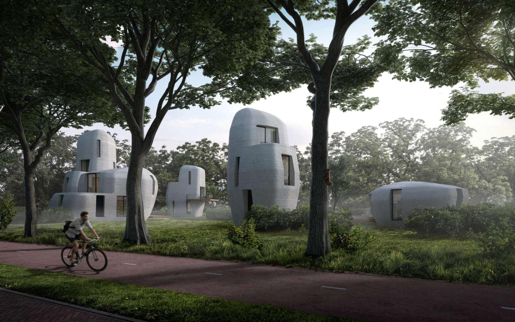 Ces cinq maisons imprimées en 3D sont les premières à être commercialisées. © Van Wijnen