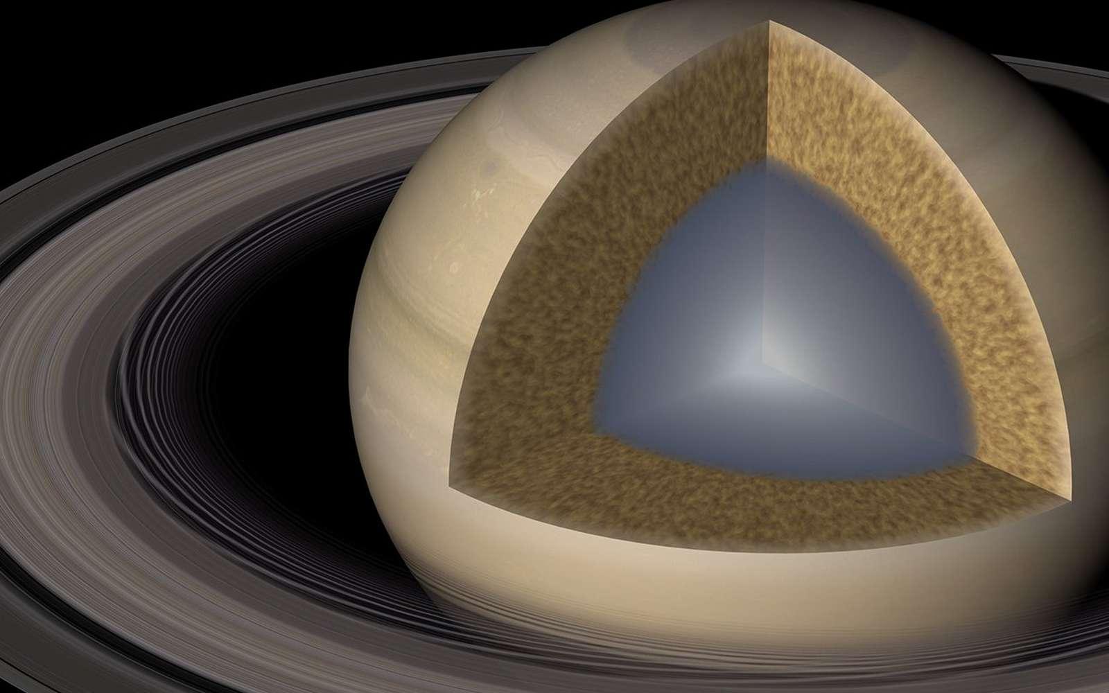 Une vue d'artiste de Saturne et de son intérieur selon le modèle proposé dans une publication récente. © Caltech/R. Hurt (IPAC)
