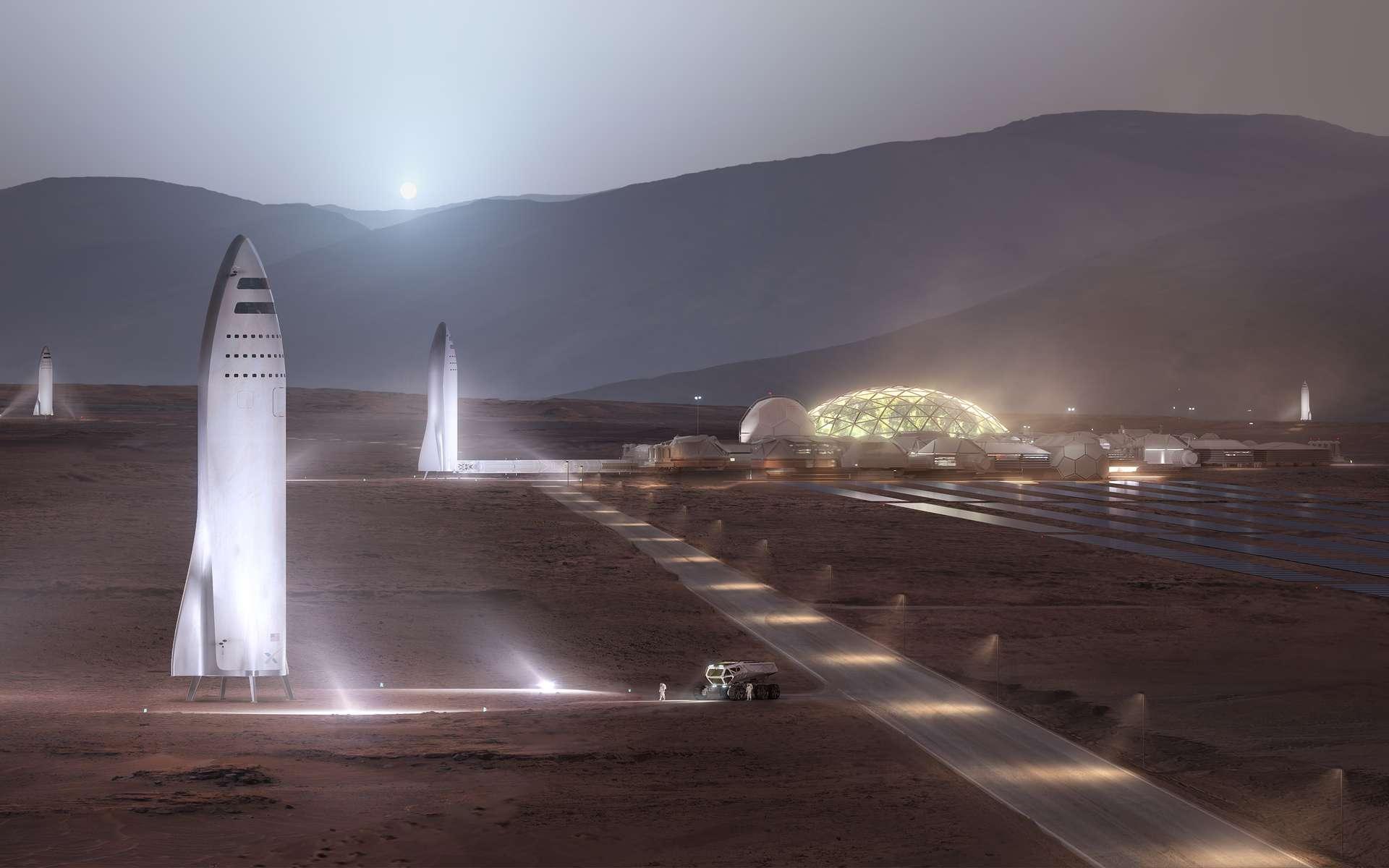 Vue d'artiste des bases martiennes et de lanceurs BFR prêts à décoller. © SpaceX