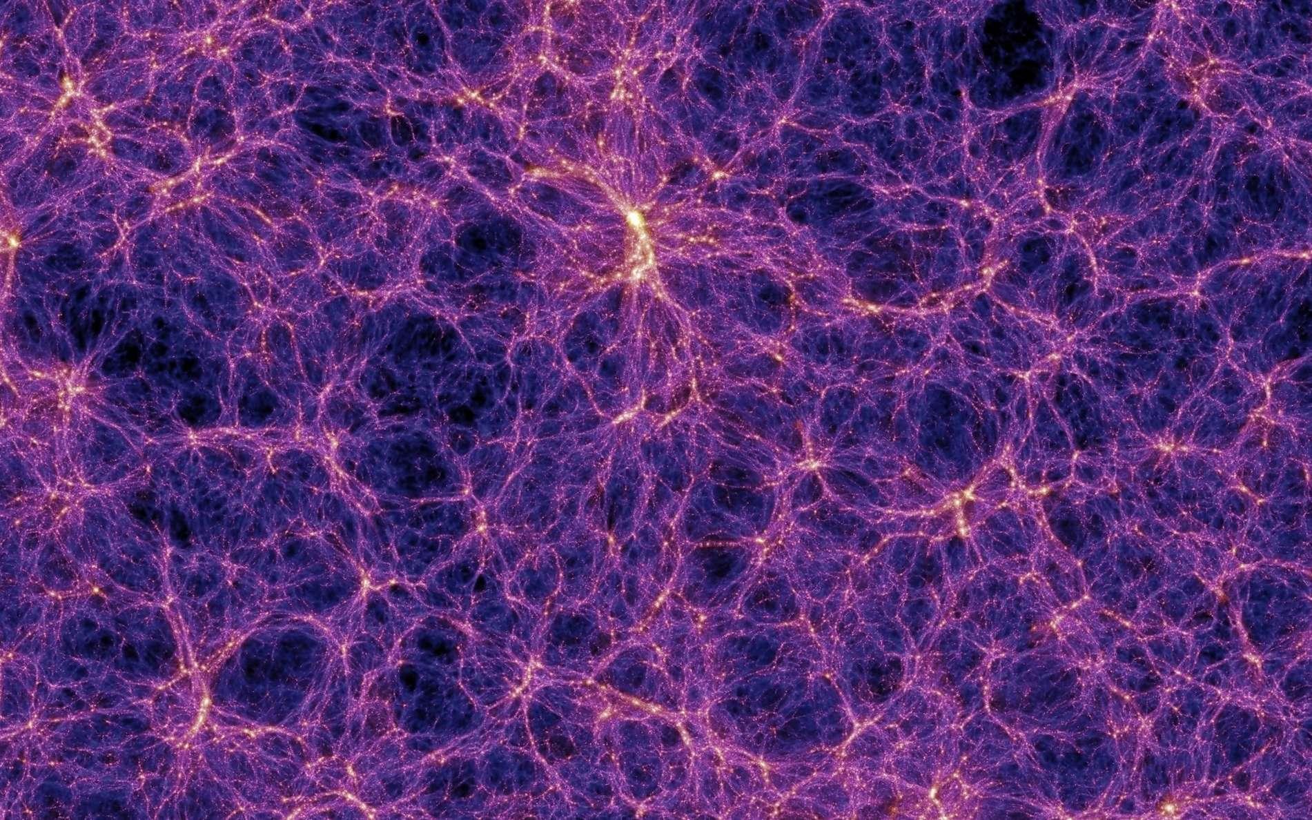 Sur cette image provenant d'une des meilleures simulations de la formation des grandes structures de l'univers, des filaments de matière noire contenant des superamas de galaxies apparaissent clairement. On note aussi la présence de grands vides, parfois appelés vides cosmiques (cosmic voids en anglais). La barre blanche indique l'échelle des distances en mégaparsecs corrigée par le facteur h lié à la constante de Hubble. On estime que h est compris entre 0,65 et 0,70, la meilleure estimation en 2014 étant de 0,68. © Max Planck Institute for Astrophysics, Millennium Simulation Project