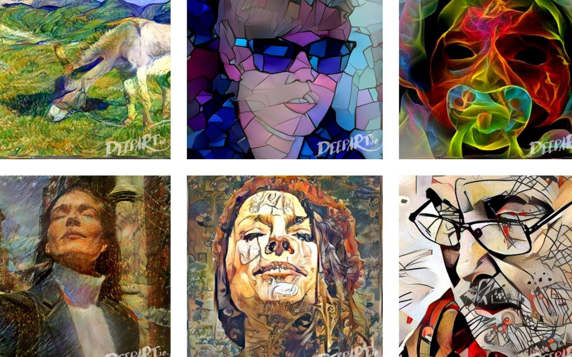Voici quelques exemples de créations signées DeepArt et réalisées à partir de photos fournies par des internautes. © DeepArt