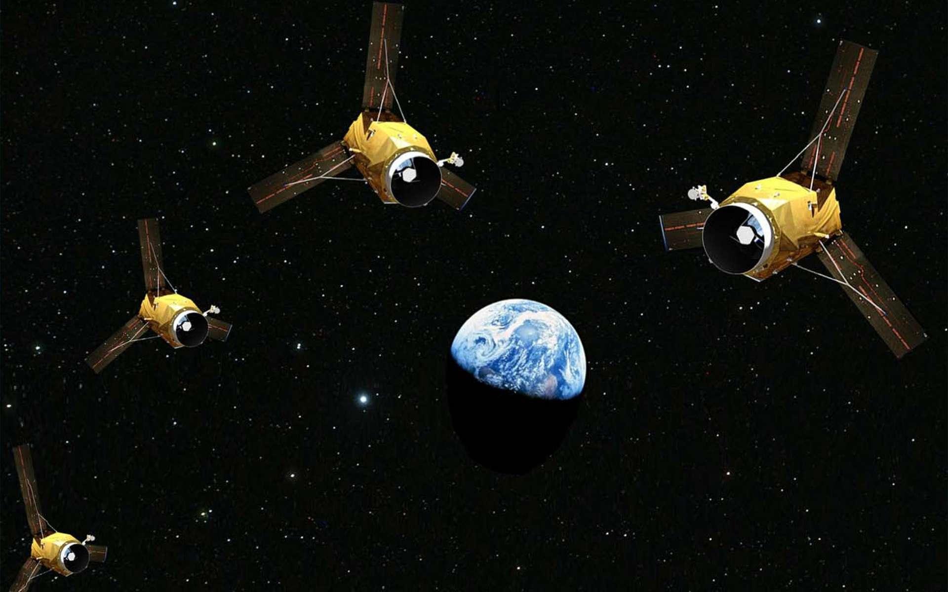 Avec cette constellation de quatre satellites, ce sera la première fois qu'une entreprise privée (Airbus) dispose d'une telle capacité d'observation de la Terre depuis l'orbite basse. © Gédeon