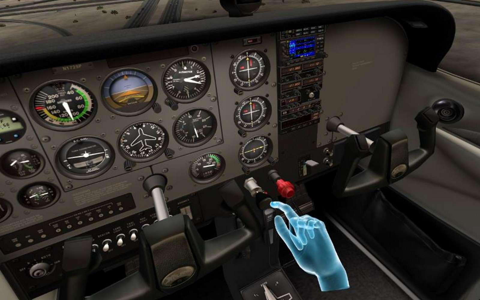La firme américaine FlyInside fournit des simulateurs de vol en VR pour l'armée américaine. En plus de la vue réaliste d'un tableau de bord d'avion, la start-up française Go Touch VR ajoute à ces simulateurs le sens du toucher, lorsque le pilote manipule les boutons et manettes virtuelles. © FlyInside