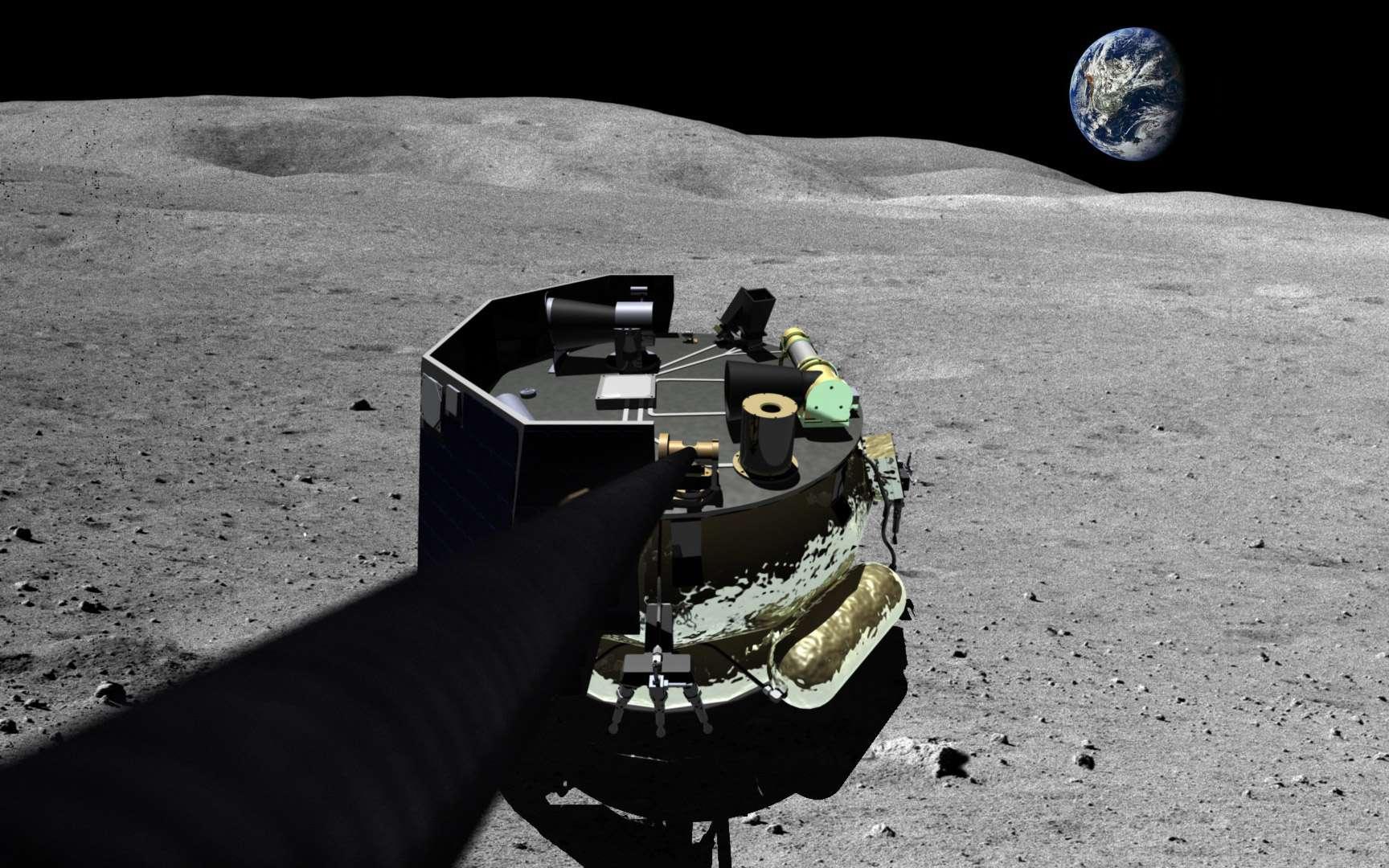 Vue d'artiste de l'atterrisseur MX-1 de la société Moon Express posé sur la surface de la Lune et prenant un selfie. © Moon Express