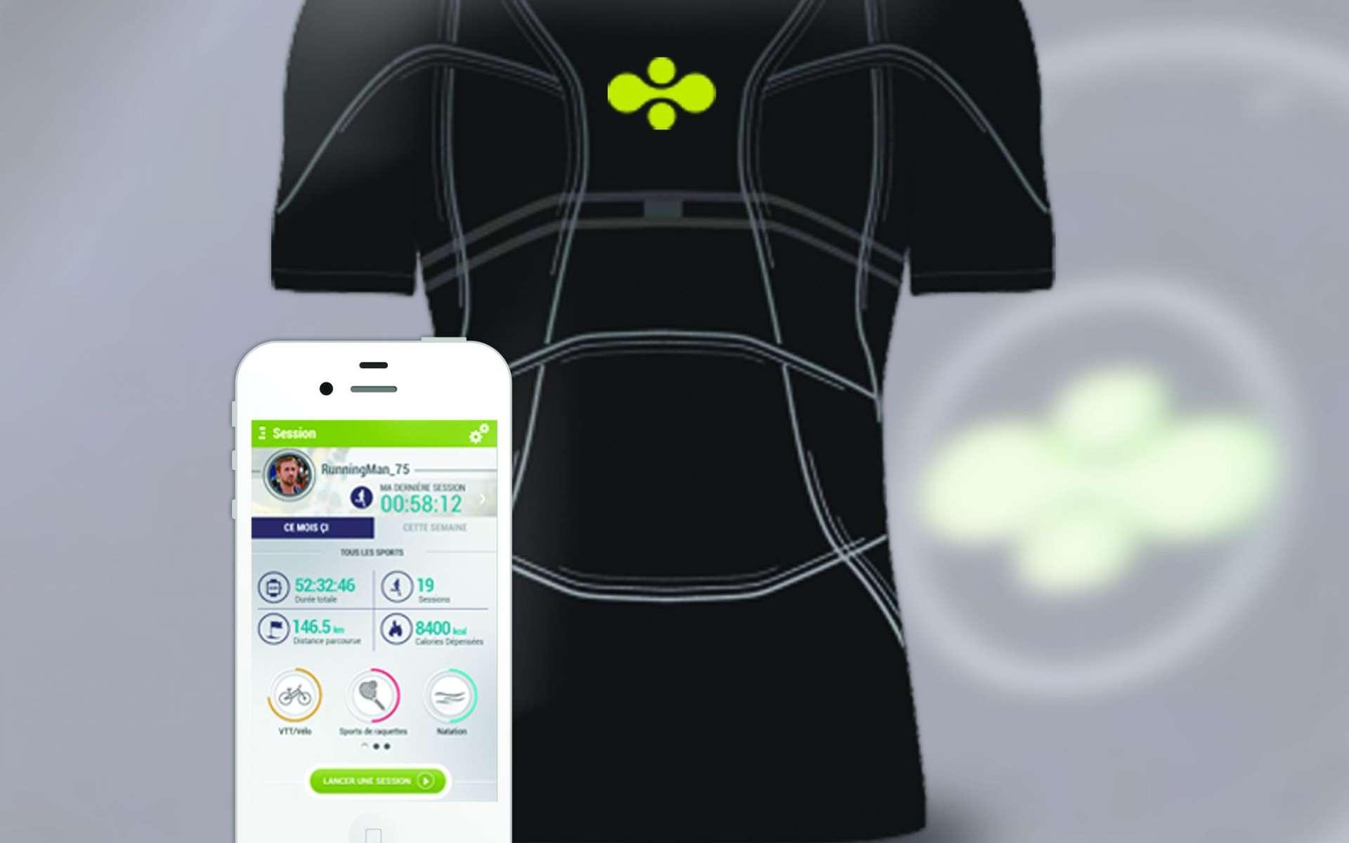 Le D-Shirt contient des capteurs (accéléromètres, GPS...) et des fines électrodes reliés à un boîtier traitant les données. Il peut ainsi suivre les battements cardiaques. Apparaissant actuellement dans le domaine du sport, cette technologie pourra aussi être utilisée pour suivre différents paramètres physiologiques et pour des applications médicales. © Cityzen Sciences