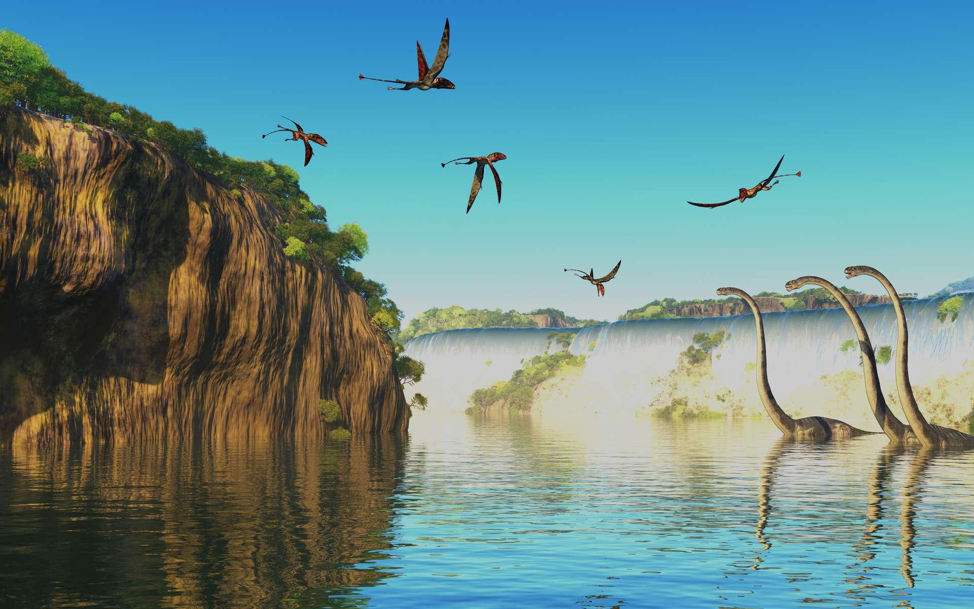 Paysage avec des Dimorphodons, un genre de ptérosaures, volant dans le ciel, et des Omeisaurus dans l'eau. © Catmando, Adobe Stock.