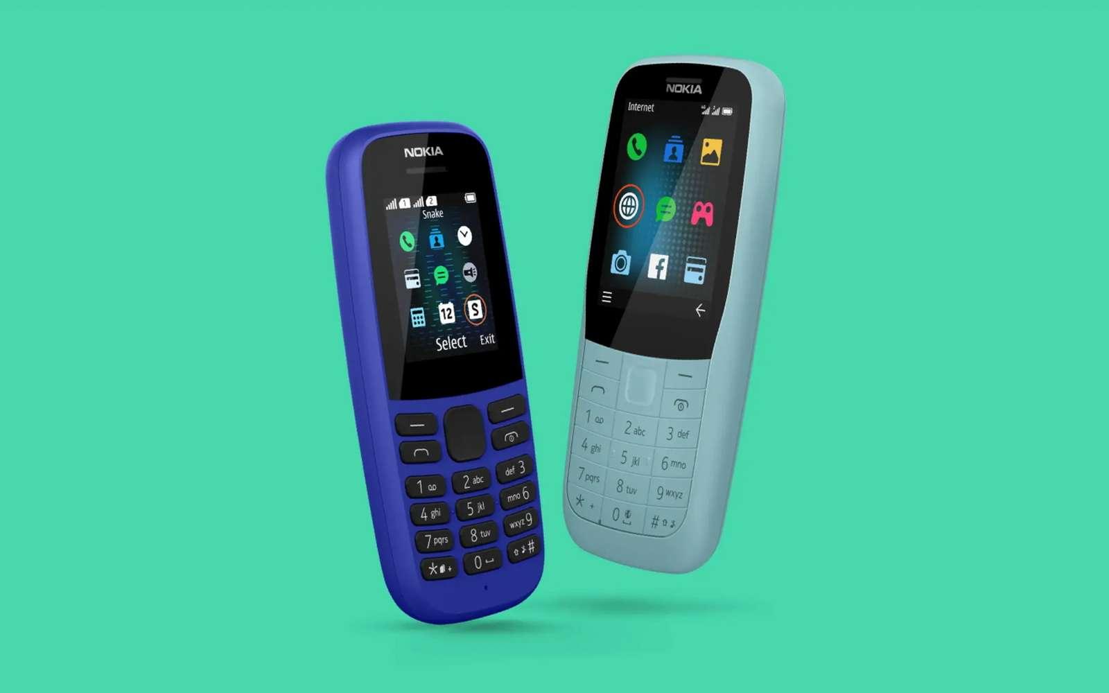 À gauche, sur la photo officielle de famille, le nouveau Nokia 105 est vendu au prix incroyable de 13 euros. À ce tarif, il se contente pratiquement de l'essentiel : téléphoner. © Nokia