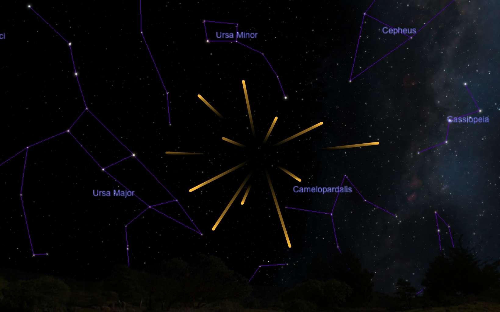 Le radiant de l'essaim météoritique des Camelopardalides se situe dans la constellation de la Girafe, non loin de l'étoile polaire (pôle nord céleste). Le pic d'activité devrait se produire le 24 mai entre 6 h et 8 h TU. Cependant, il pourrait pendre de l'avance ou manifester des pics secondaires. © Carte réalisée avec SkySafari.