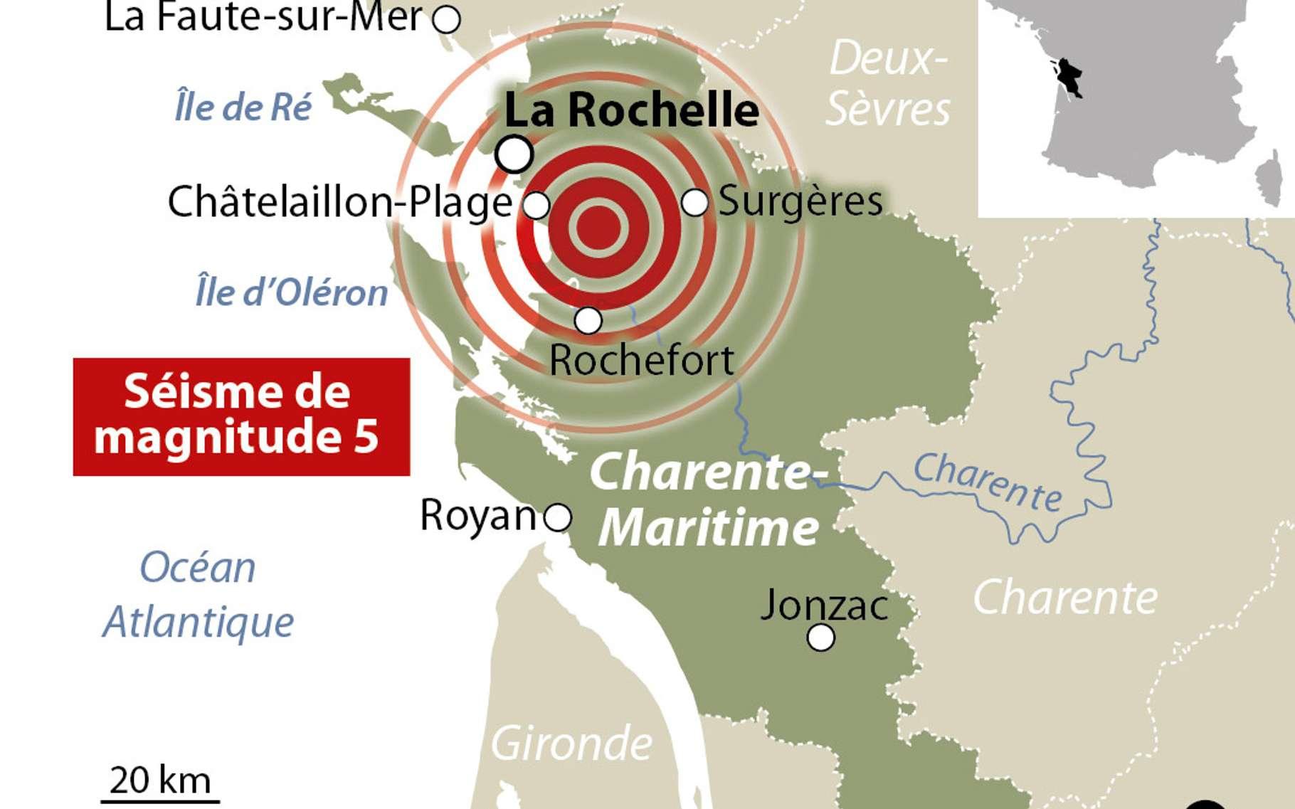 Le séisme survenu le 28 avril près de La Rochelle, en Charente-Maritime, est d'une magnitude proche de 5. Quelle en est la cause ? © idé