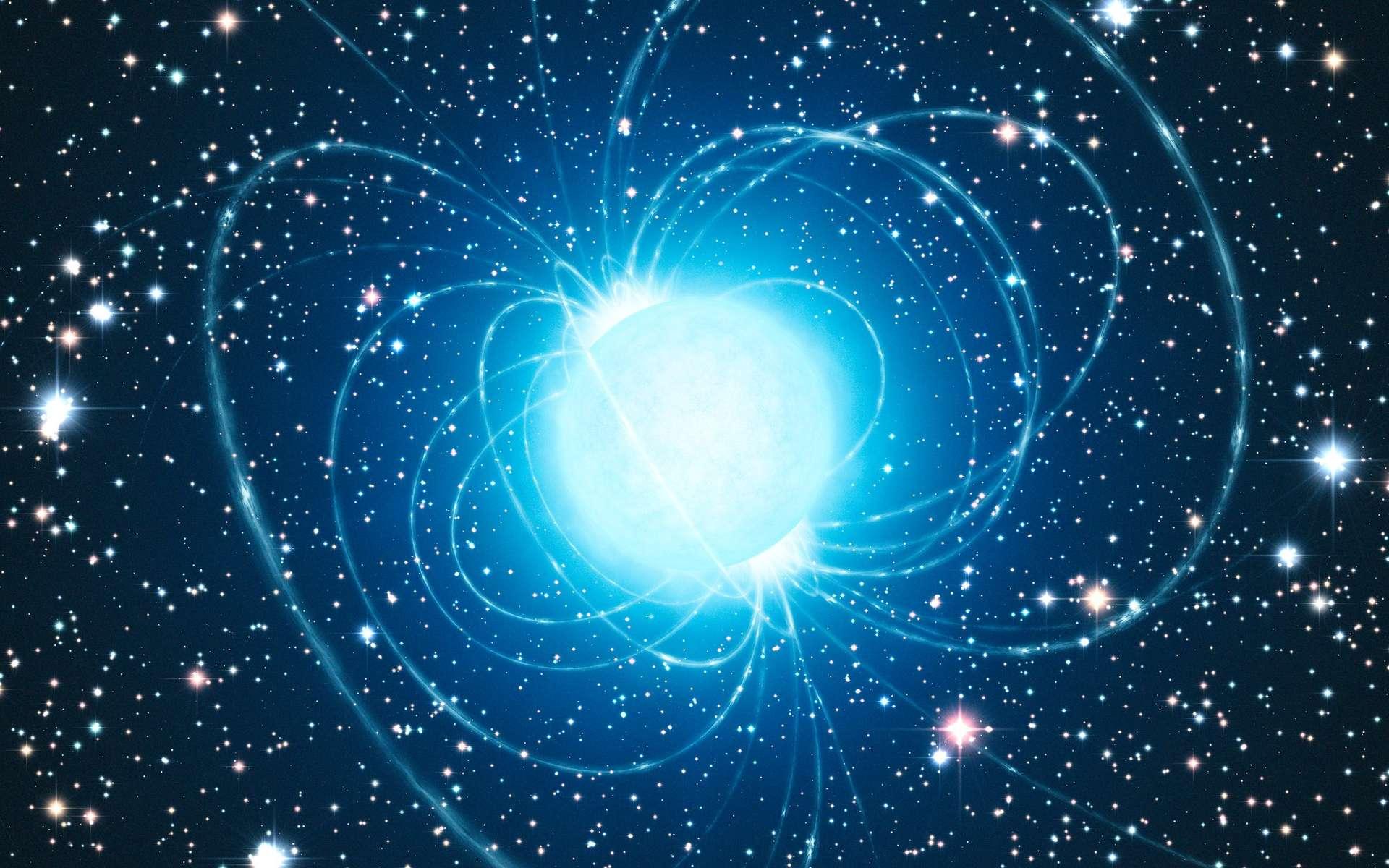Une image d'artiste montrant les lignes de champs magnétiques d'une étoile à neutrons supposée être RX J1856.5-3754. Cet objet fait partie intégrante d'un ensemble d'étoiles à neutrons baptisé Les Sept Magnifiques. Ce sont des étoiles à neutrons isolées (INS), dépourvues de tout compagnon stellaire, qui n'émettent aucun rayonnement radio (à la différence des pulsars) et ne sont pas environnées de matière issue d'une supernova. © ESO, L. Calçada