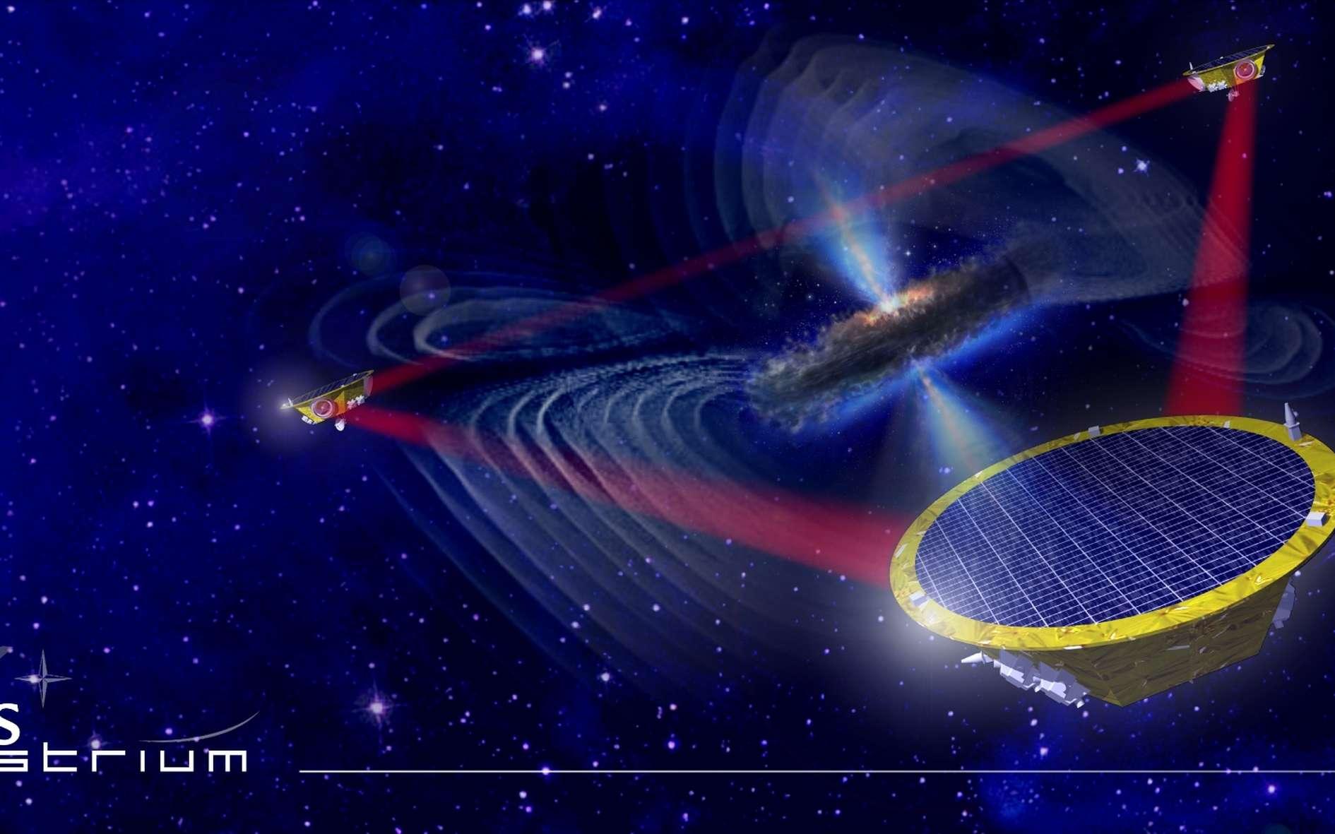 Lorsque deux trous noirs massifs entrent en collision puis fusionnent, l'événement fait vibrer l'horizon du trou noir à la façon d'une membrane avec ces modes. Pour retourner à son état d'équilibre le trou noir rayonne alors sous forme d'ondes gravitationnelles avec des fréquences très basses. La mission eLisa, que l'on voit ici avec ses trois satellites connectés par des rayons laser, devrait pouvoir observer et mesurer ce phénomène à partir de 2034. © EADS, Astrium