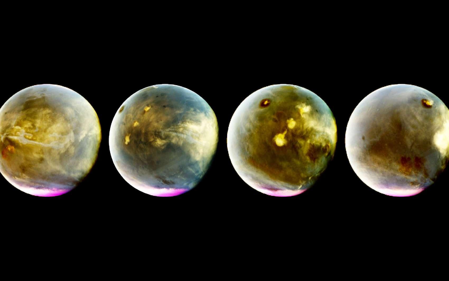 Photo-montage des images (ici en fausses couleurs) de Mars prises par Maven le 9 et 10 juillet 2016. Au cours de cette observation de sept heures, des nuages se sont formés au-dessus des volcans de Mars. © Nasa, Maven, université du Colorado