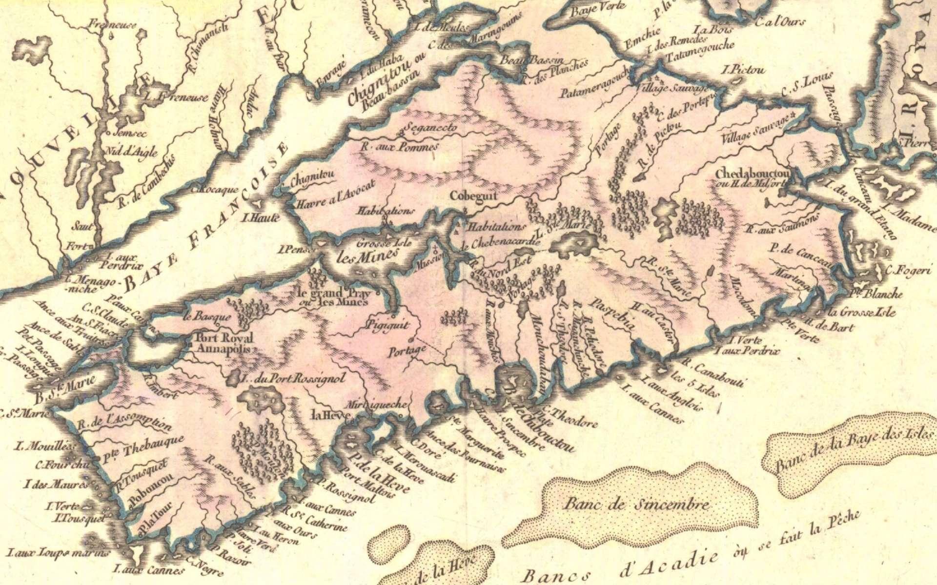 Carte de l'Acadie en 1749 par Robert de Vaugondy. © Domaine public