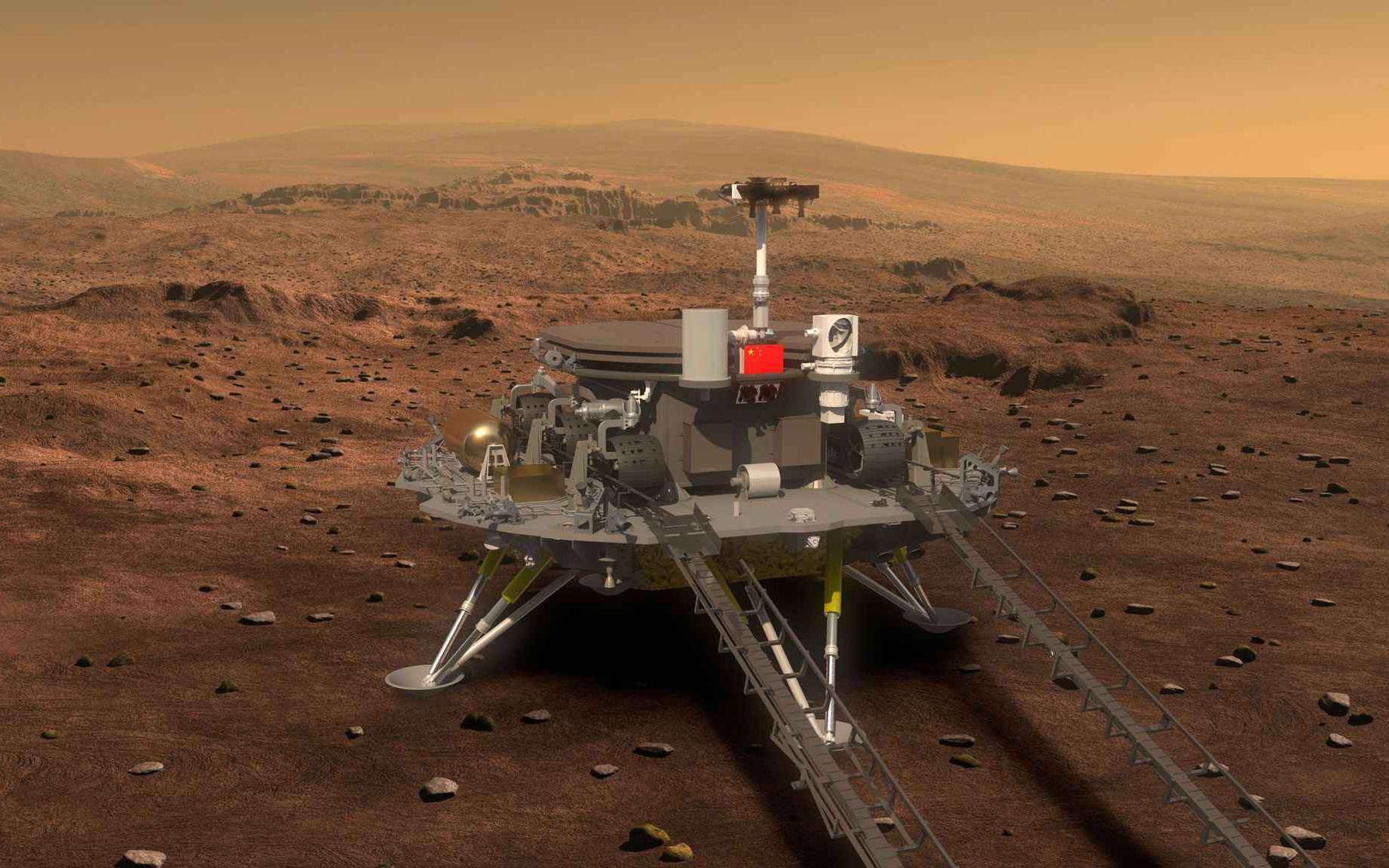 L'atterrisseur et le rover de la future mission martienne de la Chine. Ce rover est prévu pour fonctionner pendant environ une centaine de jours. À la différence du rover Curiosity de la Nasa, qui utilise un générateur thermoélectrique à radio-isotope (RTG), le rover chinois utilisera des panneaux solaires pour la production de l'énergie dont il aura besoin. © Xinhua
