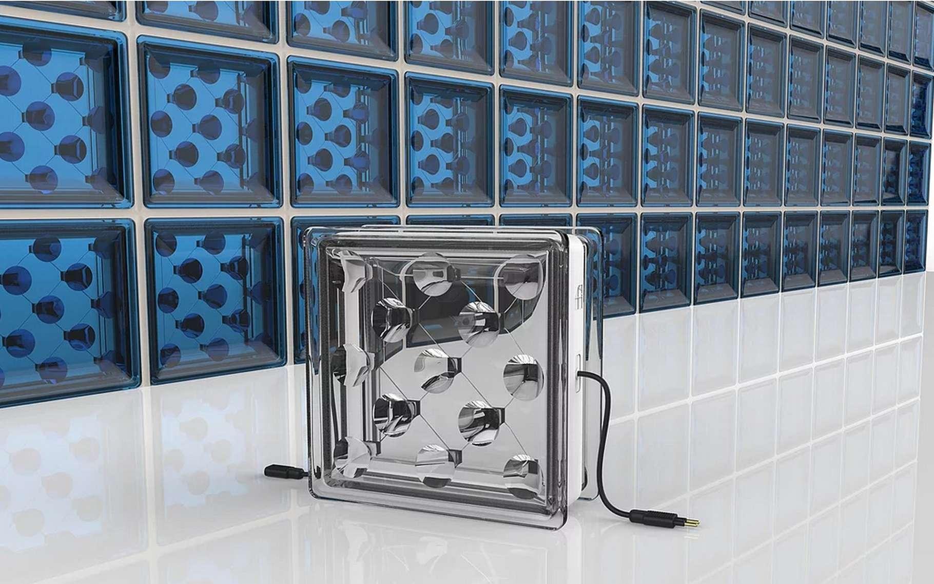 La brique de verre photovoltaïque Solar Squared conçue par la start-up Buil Solar est composée d'un réseau d'optiques qui dirigent les rayons du soleil vers des cellules photovoltaïques. © Build Solar