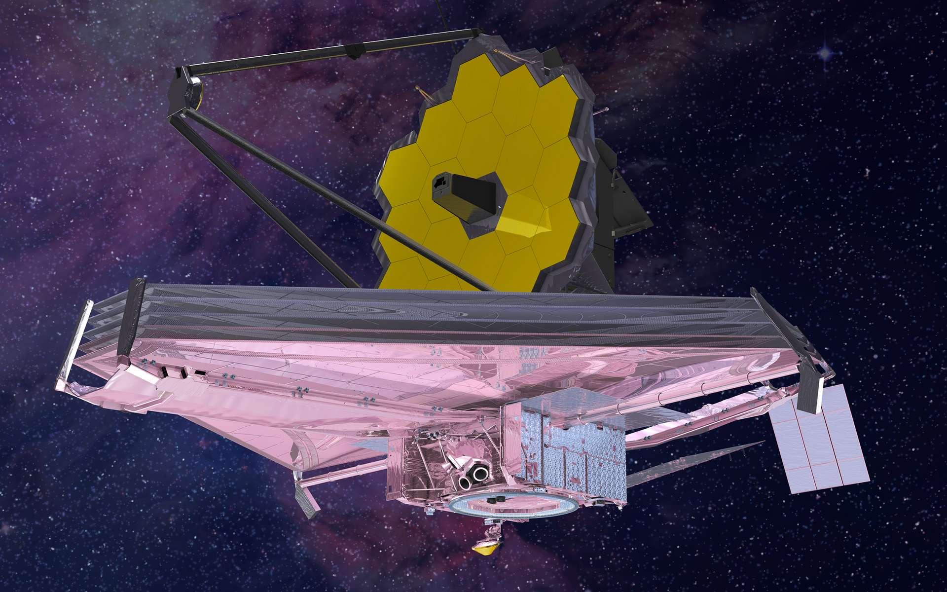 L'observatoire spatial James-Webb (JWST) en orbite avec son miroir et son bouclier thermique déployés. © Northrop Grumman